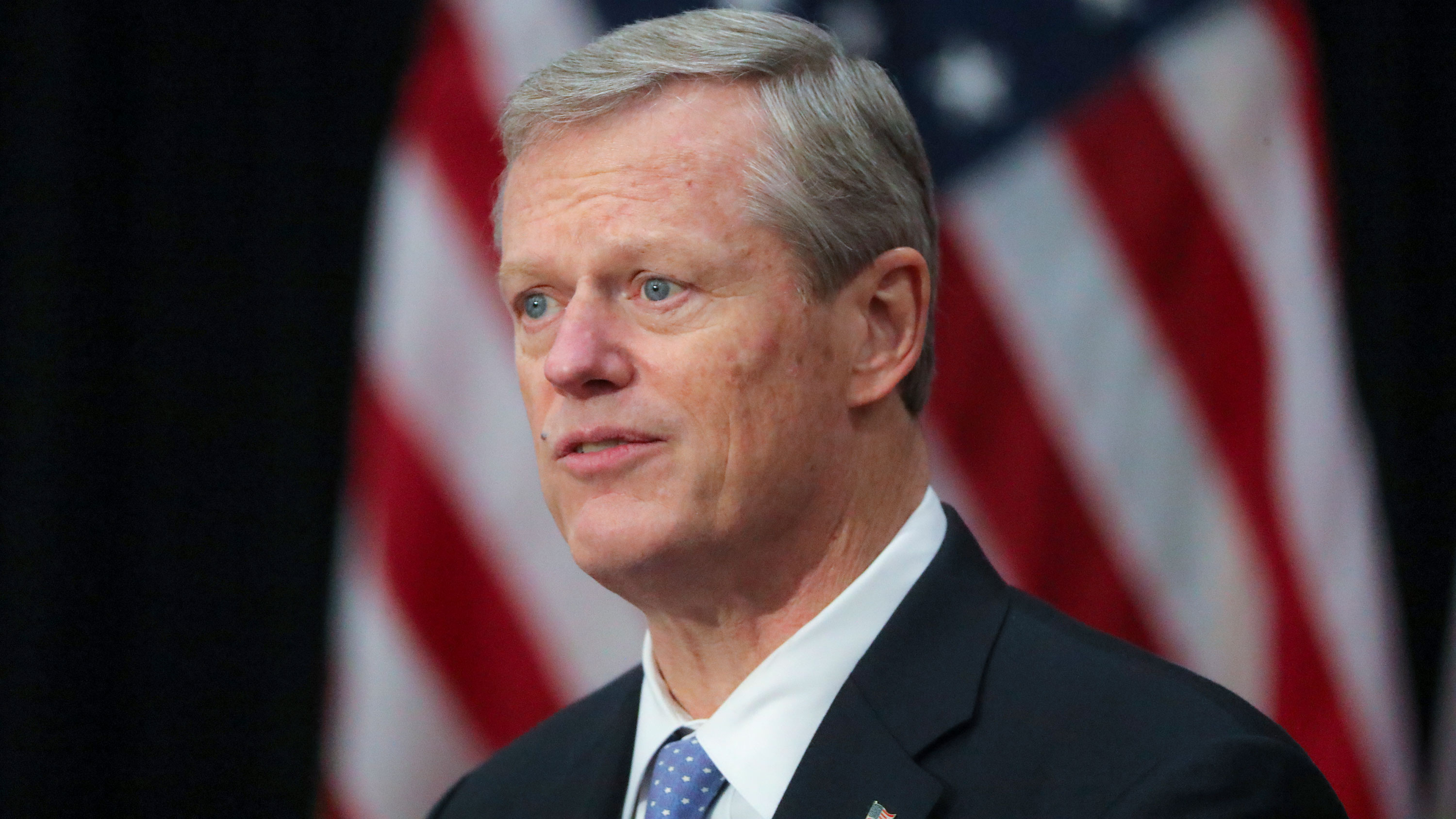 Gov. Charlie Baker speaks during a press conference on November 3 in Boston, Massachusetts.