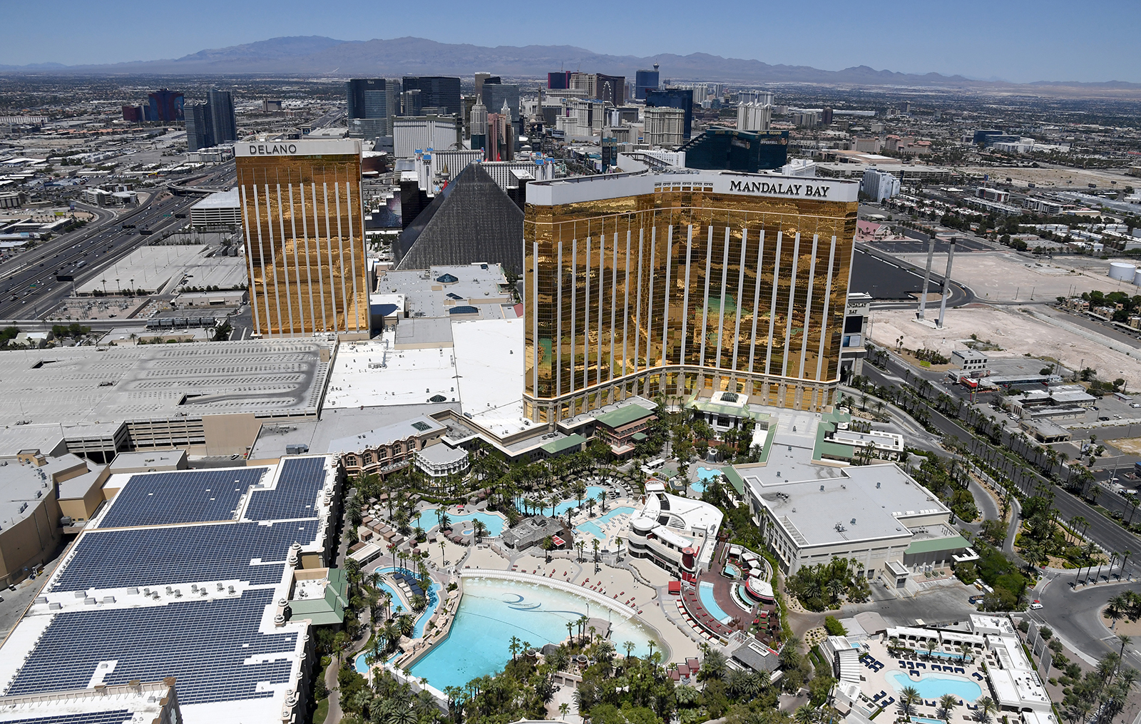 The Las Vegas Strip including Delano Las Vegas at Mandalay Bay Resort and Casino and Mandalay Bay Resort and Casino are seen closed on May 21 in Las Vegas.