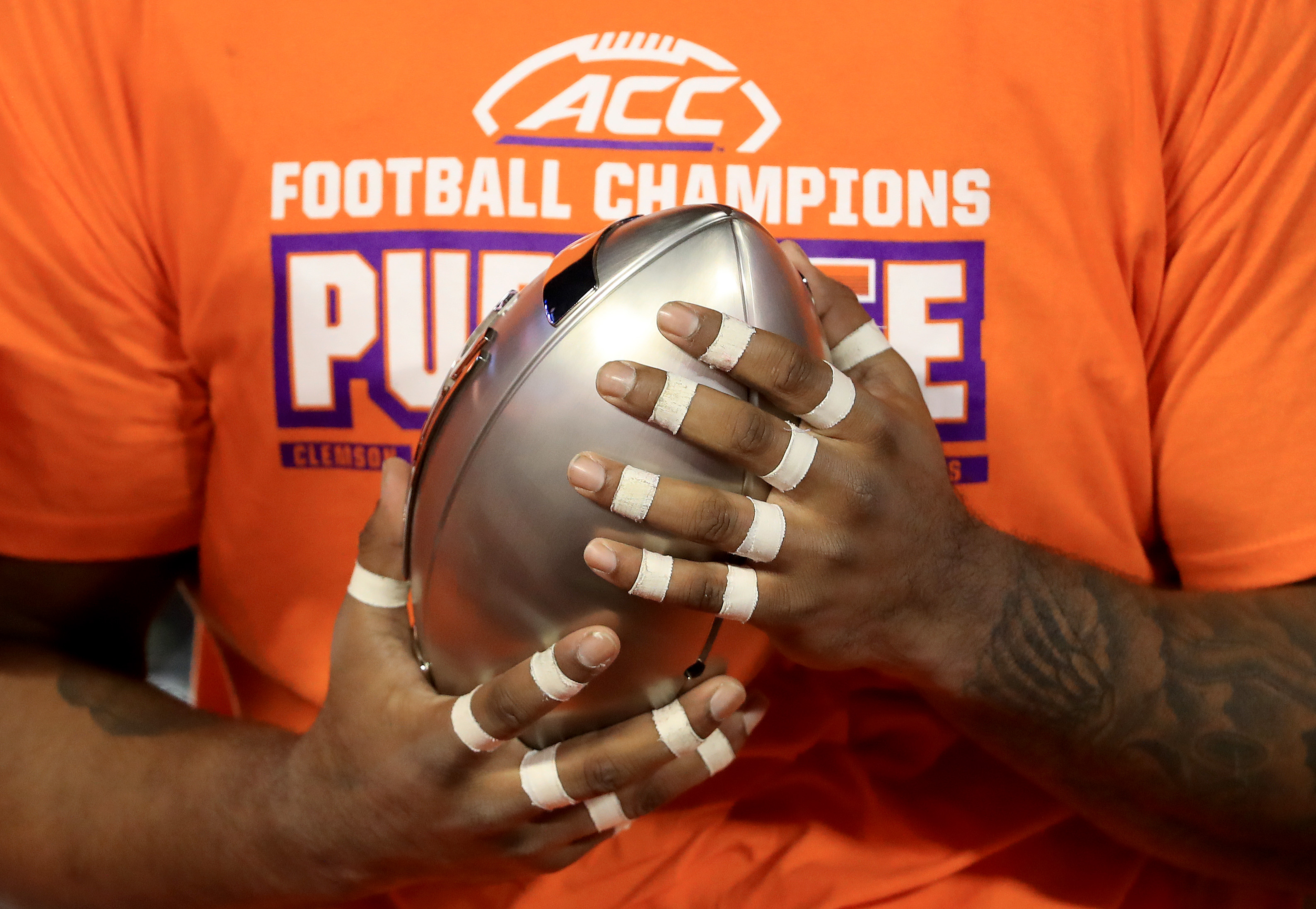 A detailed view of the trophy after the Clemson Tigers defeated the Virginia Cavaliers 64-17 in the ACC Football Championship game at Bank of America Stadium on December 07, 2019 in Charlotte, North Carolina.