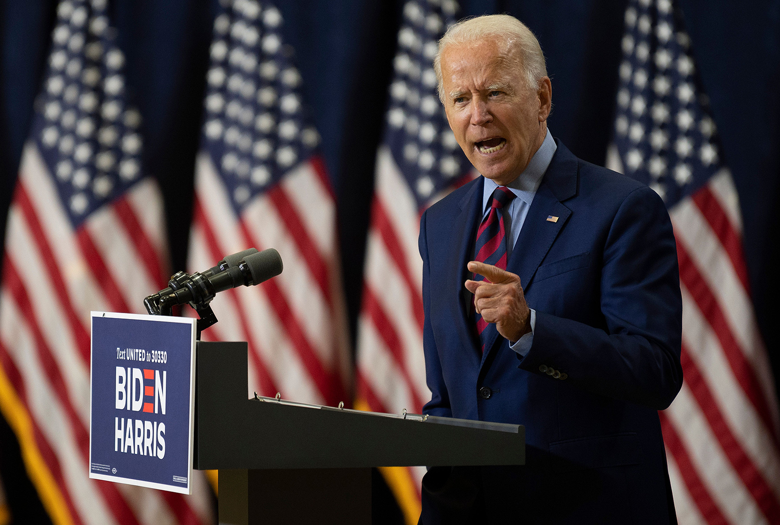 Democratic presidential candidate and former Vice President Joe Biden speaks on the state of the US economy on September 4, in Wilmington, Delaware.