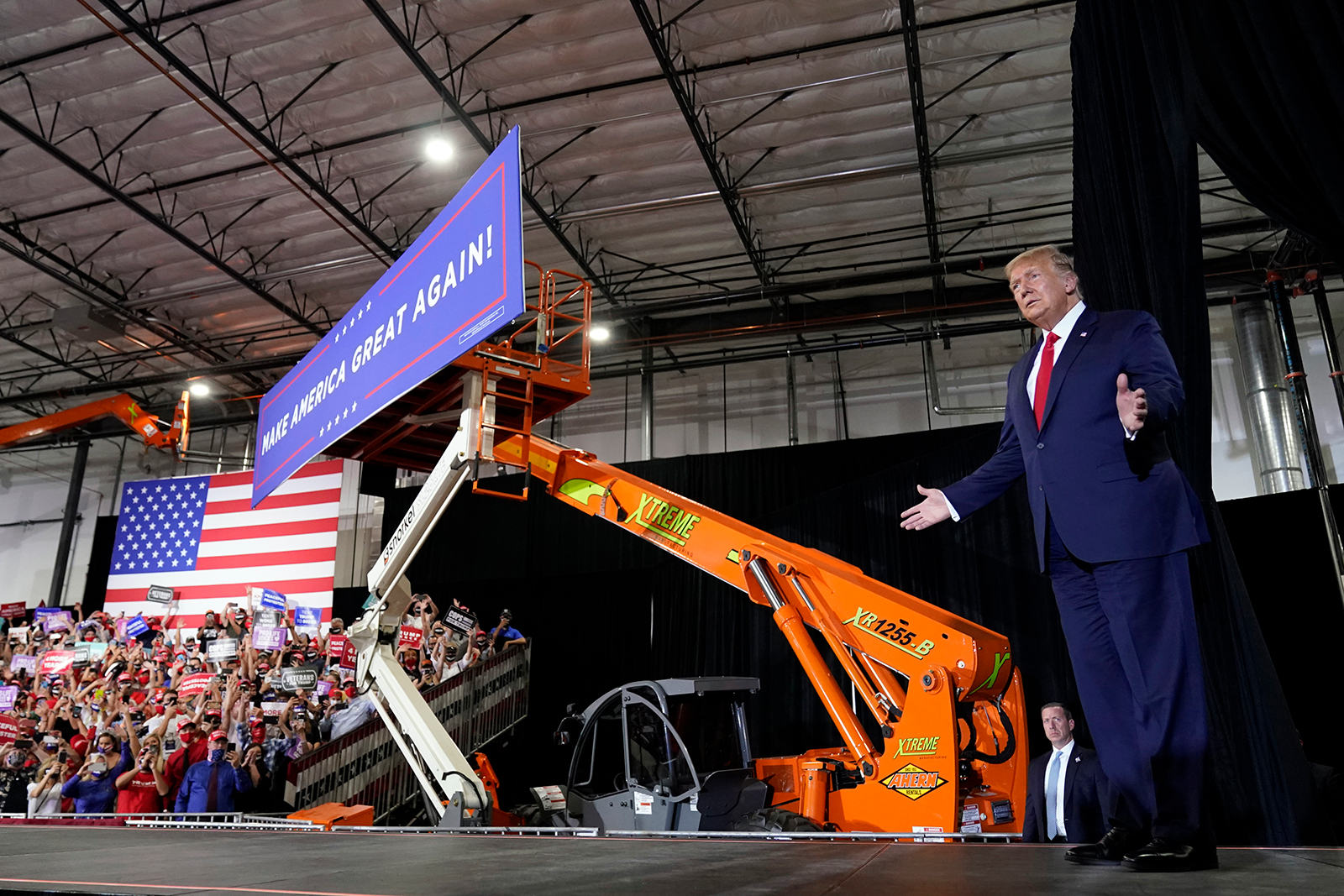 President Donald Trump arrives to speak at a rally at Xtreme Manufacturing in Henderson, Nevada, on September 13.