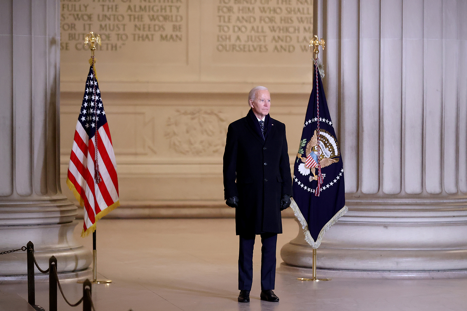 President Joe Biden delivers brief remarks during the Celebrating America program at the Lincoln Memorial on January 20, in Washington.