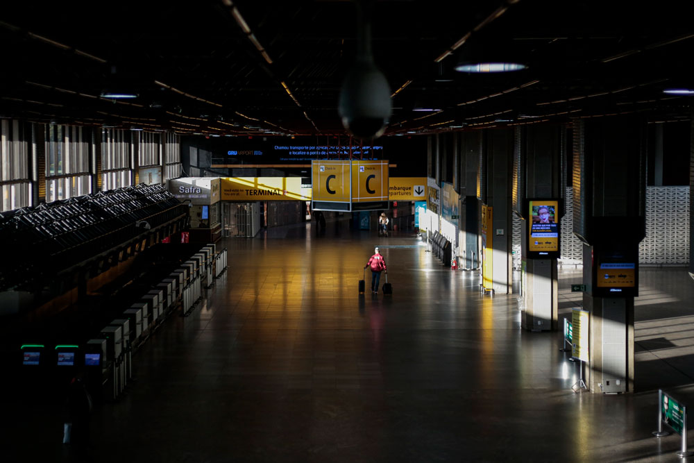 View of an almost empty hall at Guarulhos International Airport in Guarulhos, near Sao Paulo, Brazil, on May 26.