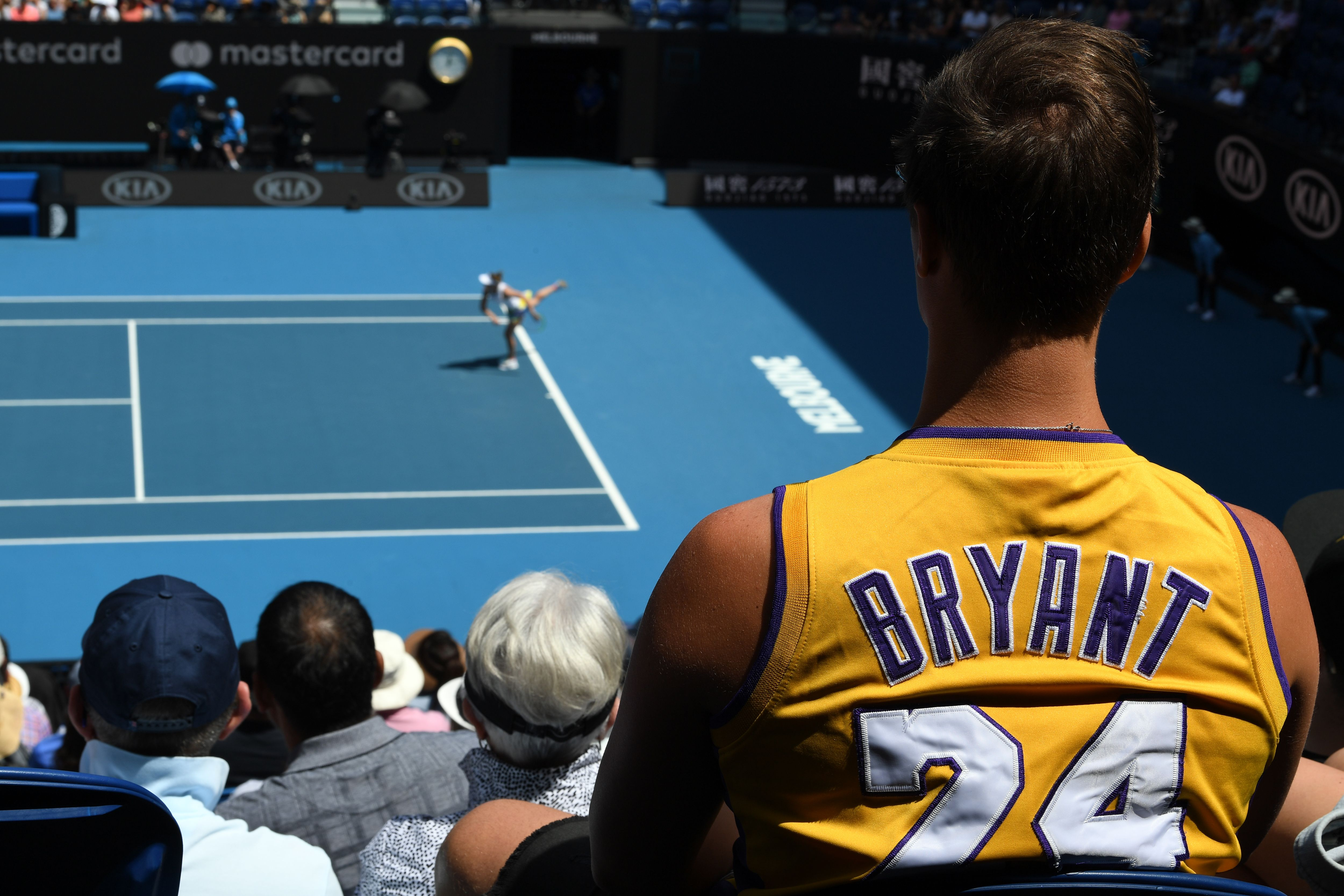 A spectator wears a Kobe Bryant jersey at the Australian Open tennis tournament in Melbourne on January 27, 2020.