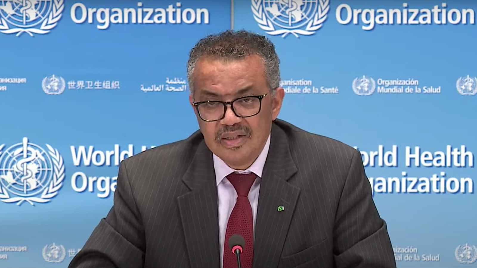 World Health Organization Director-General Tedros Adhanom Ghebreyesus speaks during a media briefing in Geneva on May 11.