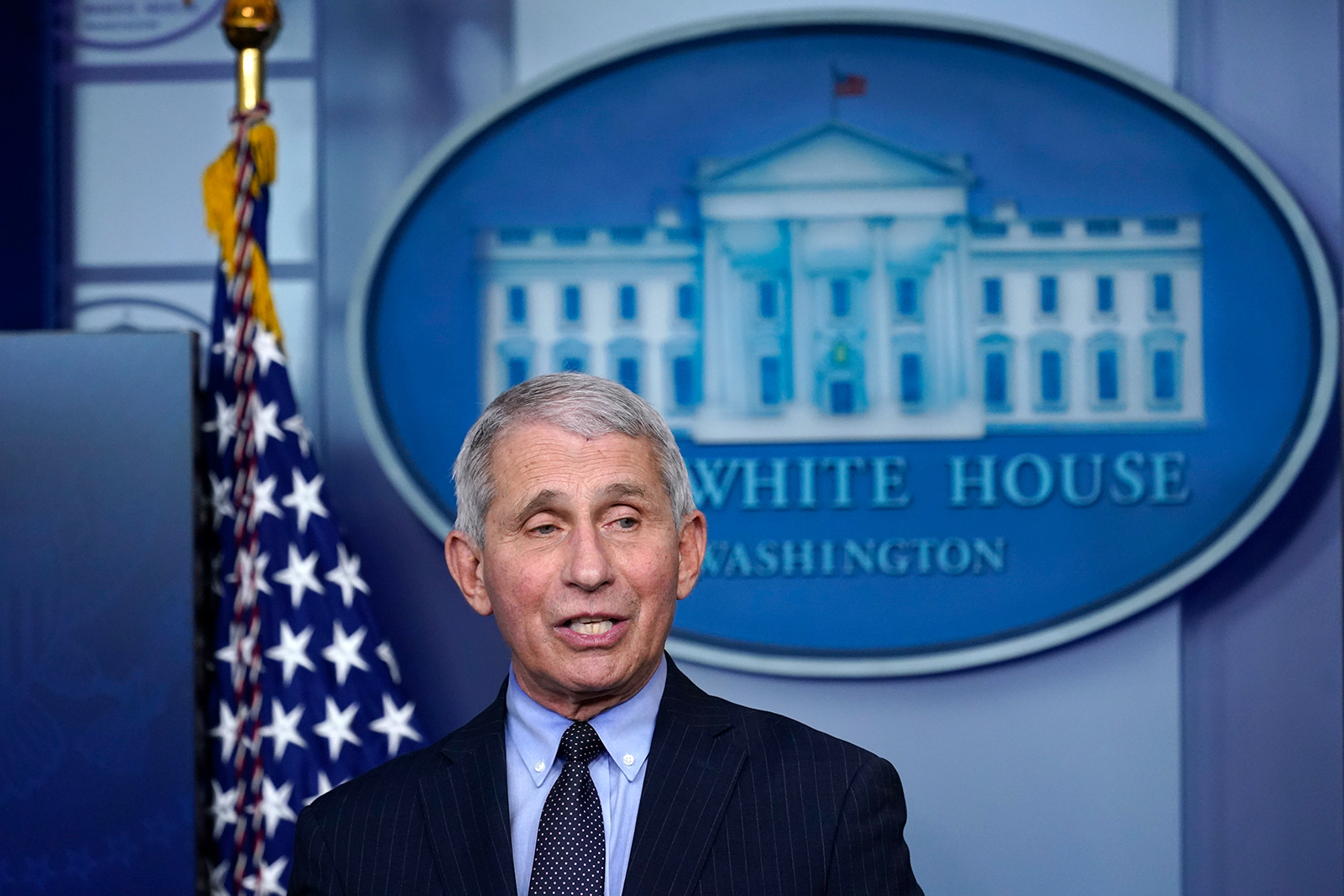 Dr. Anthony Fauci, director of the National Institute of Allergy and Infectious Diseases, speaks with reporters at the White House, in Washington, DC, on January 21.