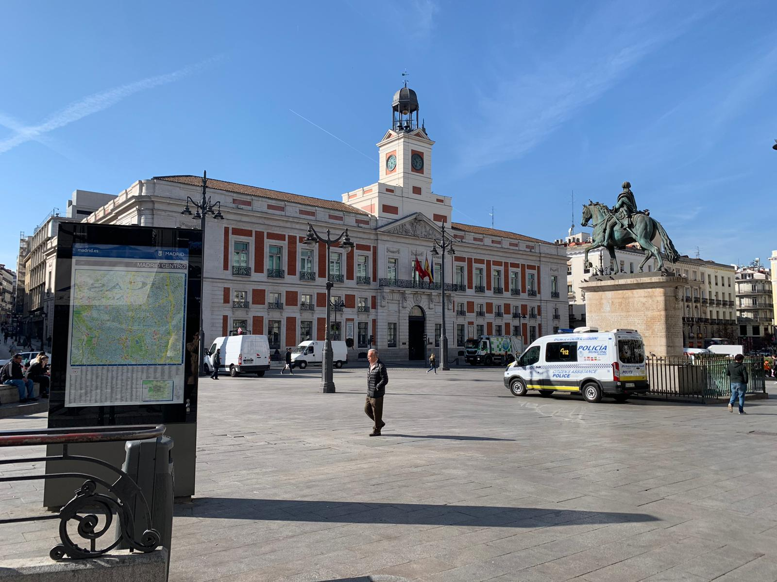 Puerta del Sol in Central Madrid, normally extremely busy, was quiet on day three of quarantine measures.