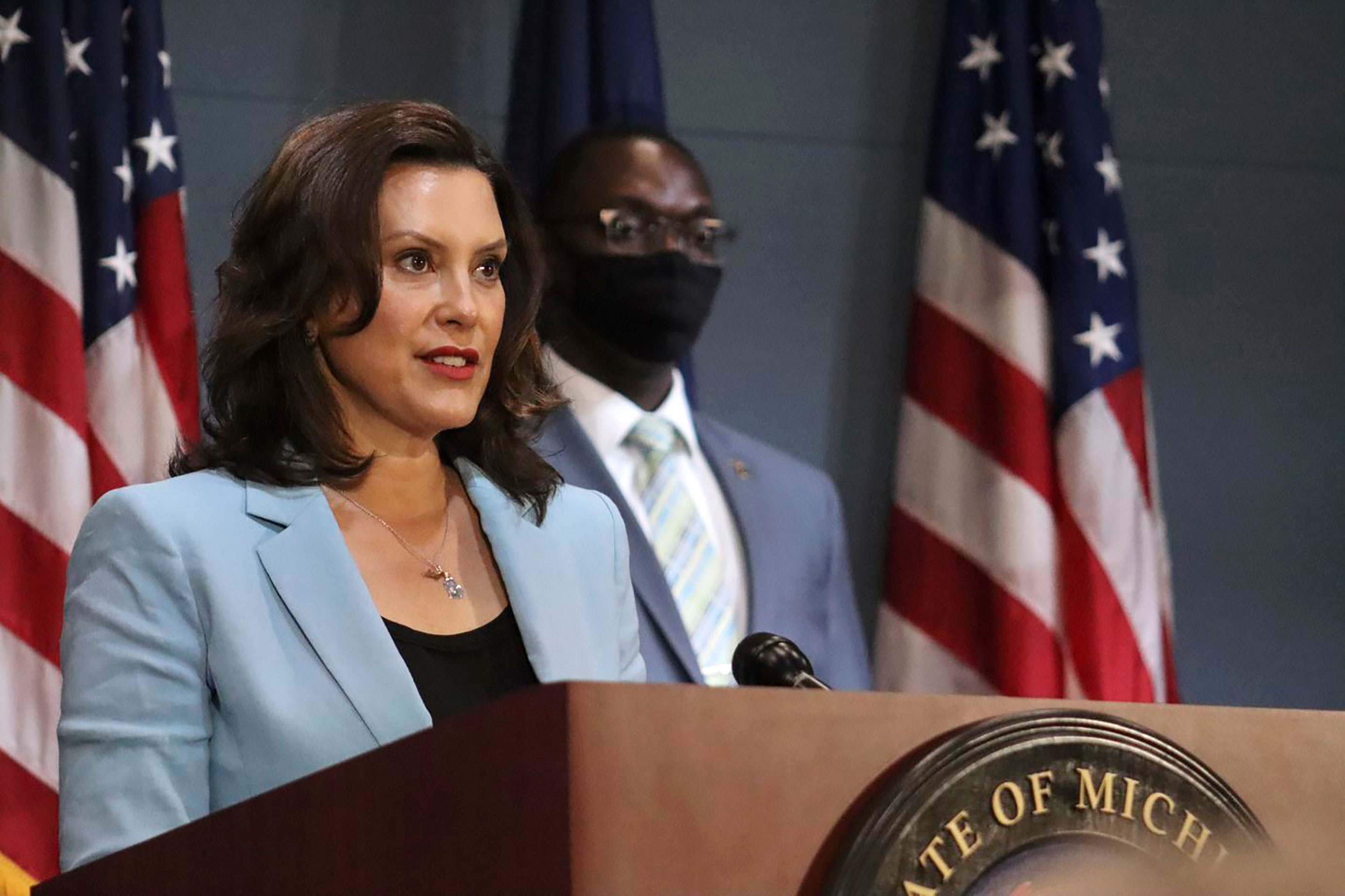 Michigan Gov. Gretchen Whitmer speaks during a press conference in Lansing, Michigan.