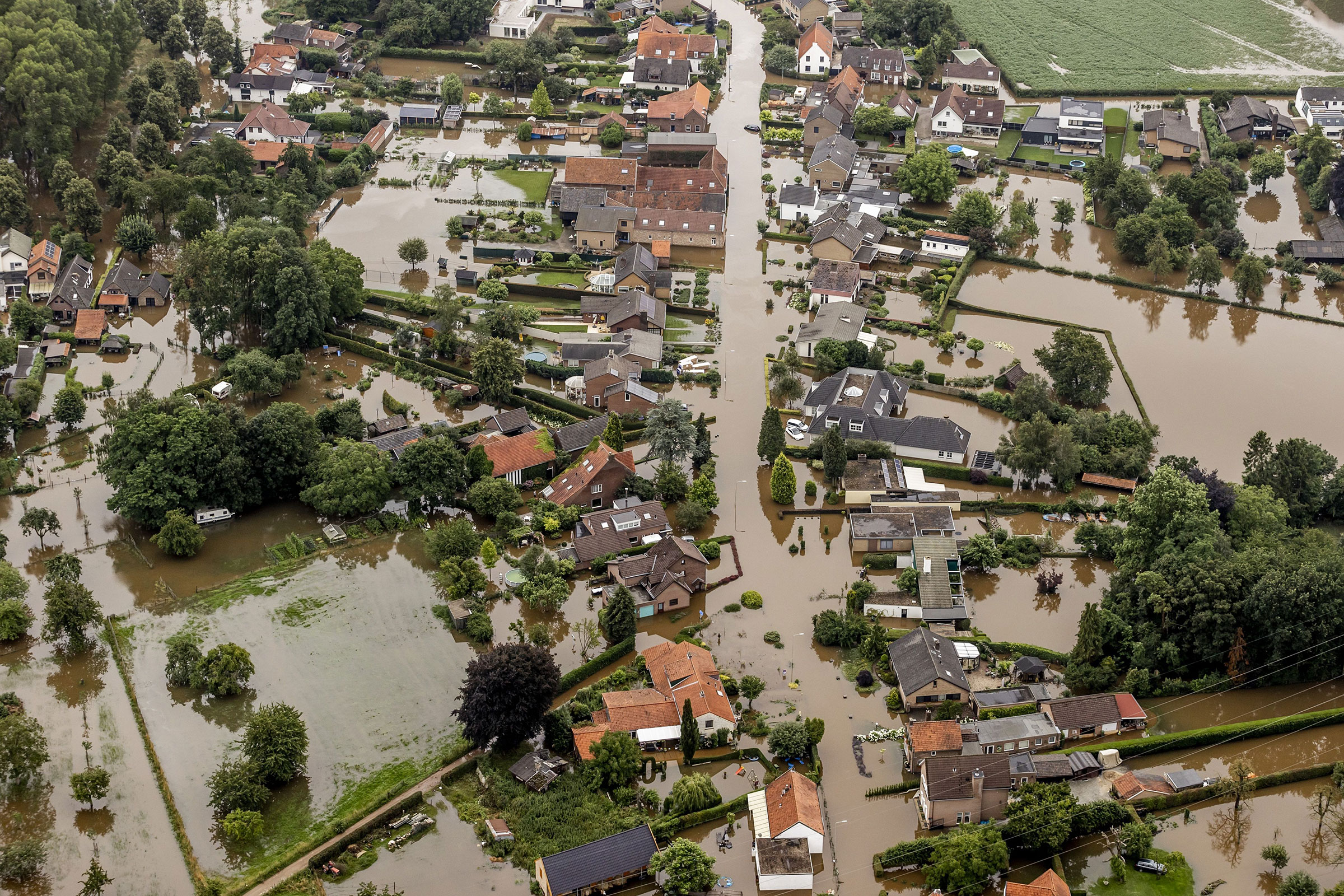 A residential area is flooded in Brommelen, Netherlands, on July 16.