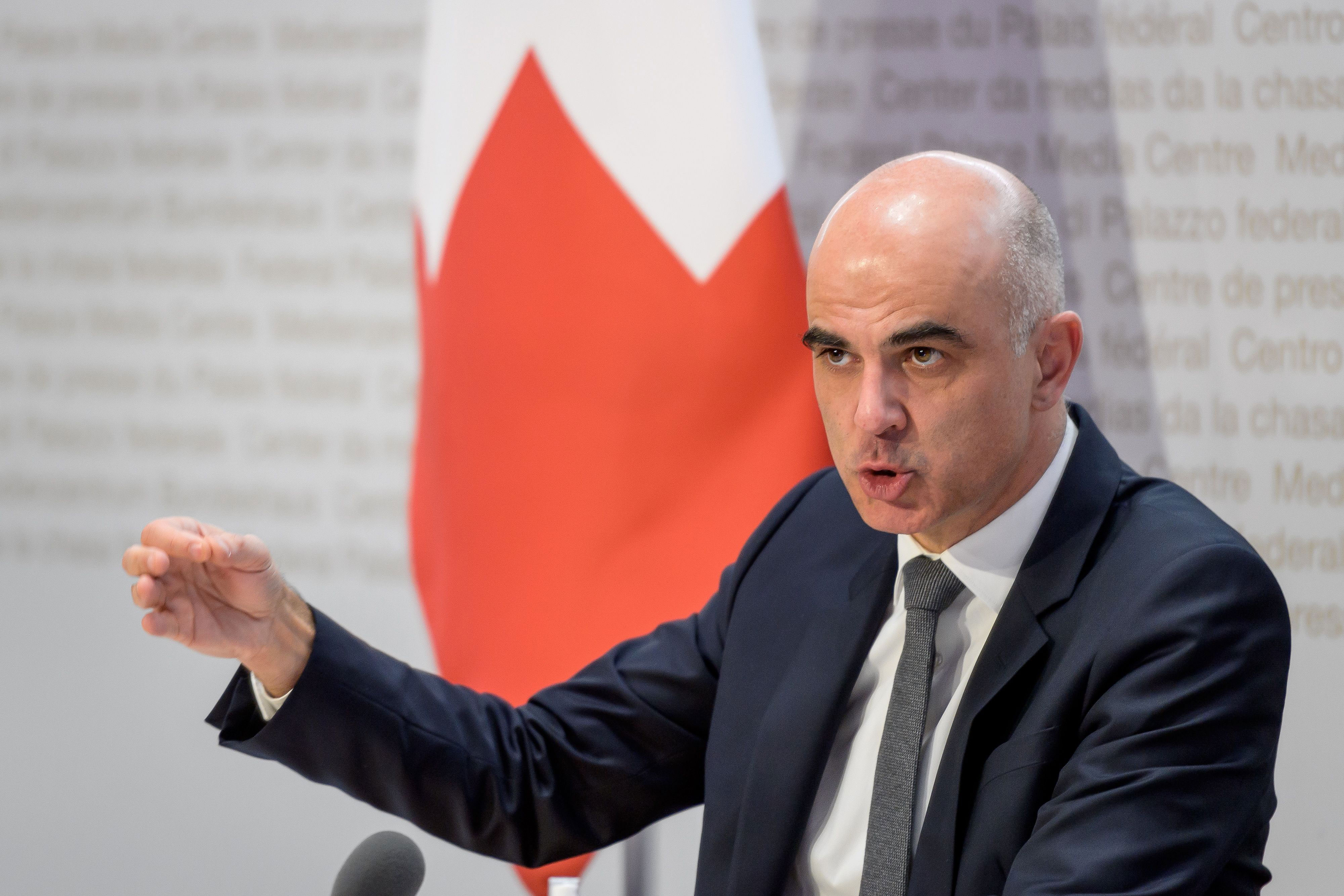 Federal CouncillorAlain Berset speaks at a press conference on January 6 in Bern, Switzerland.