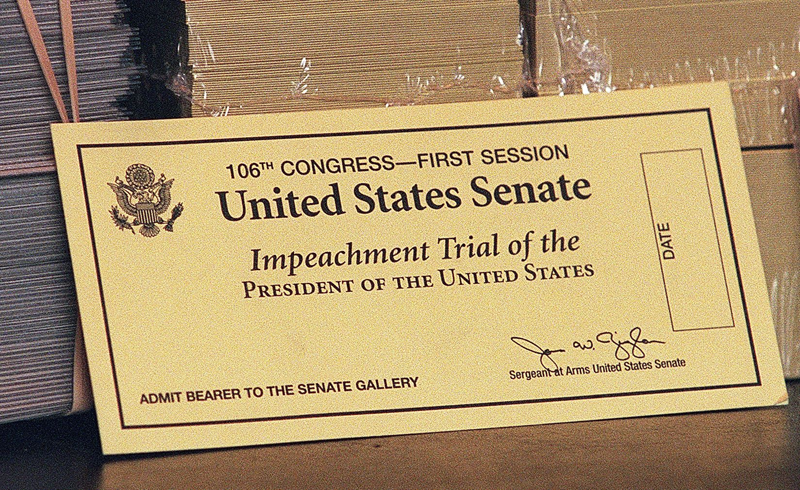 An official ticket to watch the impeachment trial of US President Bill Clinton in 1999.