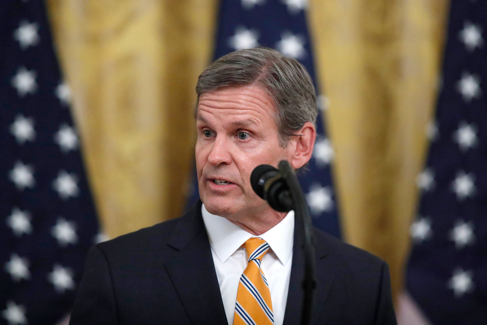 Tennessee Gov. Bill Lee speaks in the East Room of the White House in Washington DC on April 30.