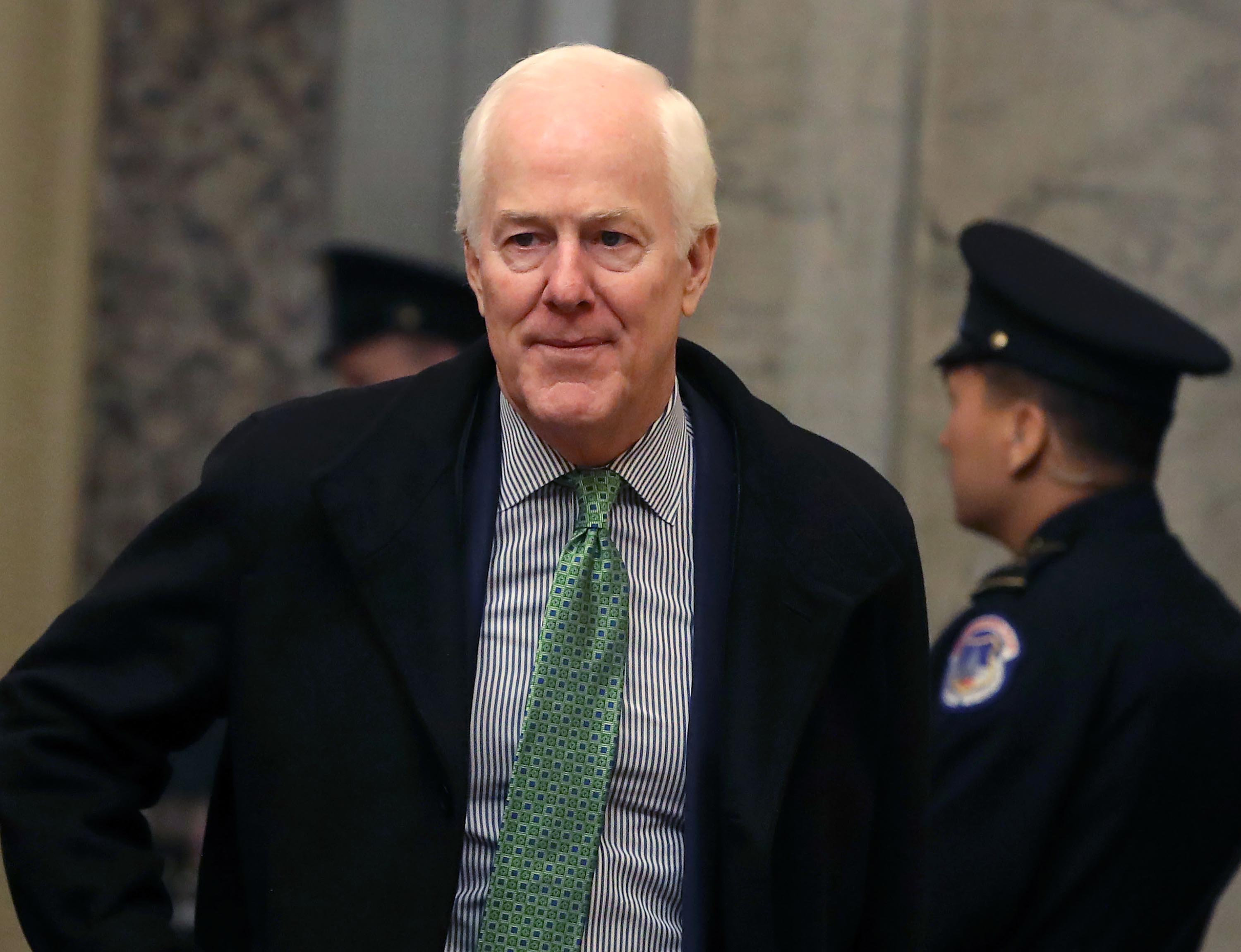 Sen. John Cornyn arrives at the US Capitol as the Senate impeachment trial of President Donald Trump continues January 23.
