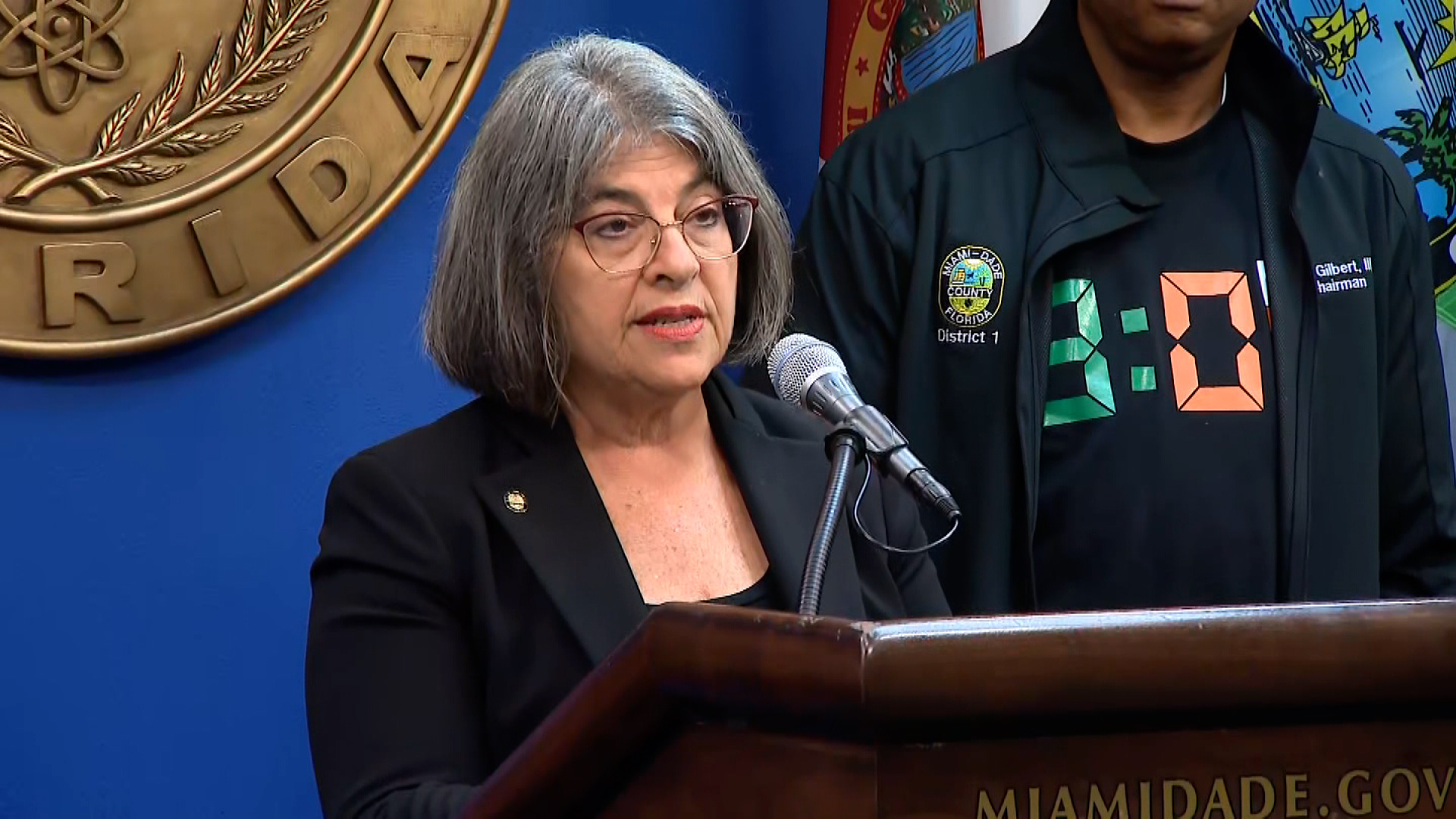 Miami-Dade County Mayor Daniella Levine Cava speaks during a press briefing on July 5.