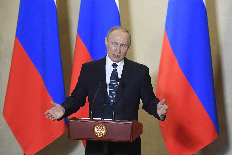 Russian President Vladimir Putin speaks in Sevastopol, Crimea, on March 18.