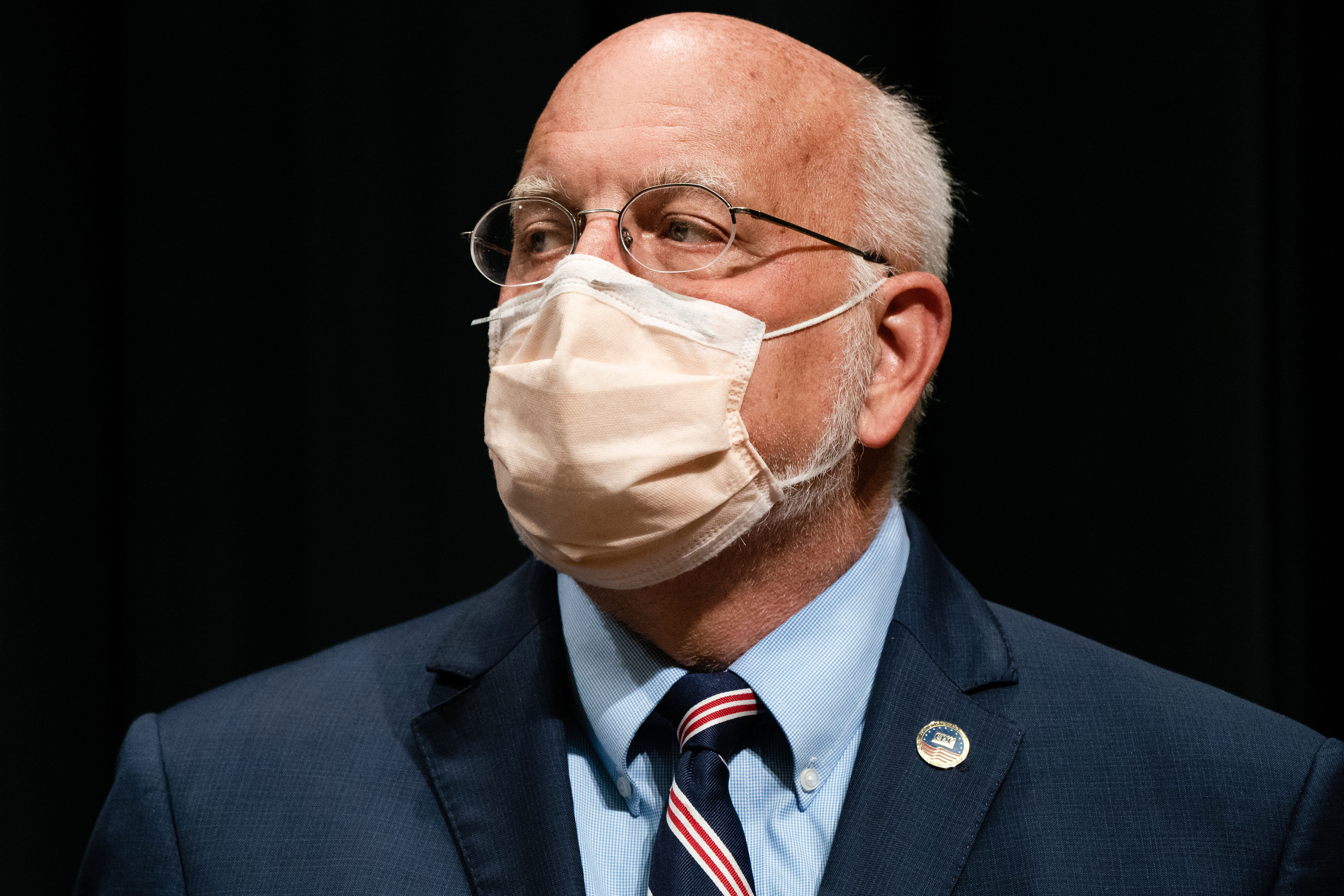 Dr. Robert Redfield, director of the US Centers for Disease Control and Prevention, attends a news conference in Atlanta on October 21.