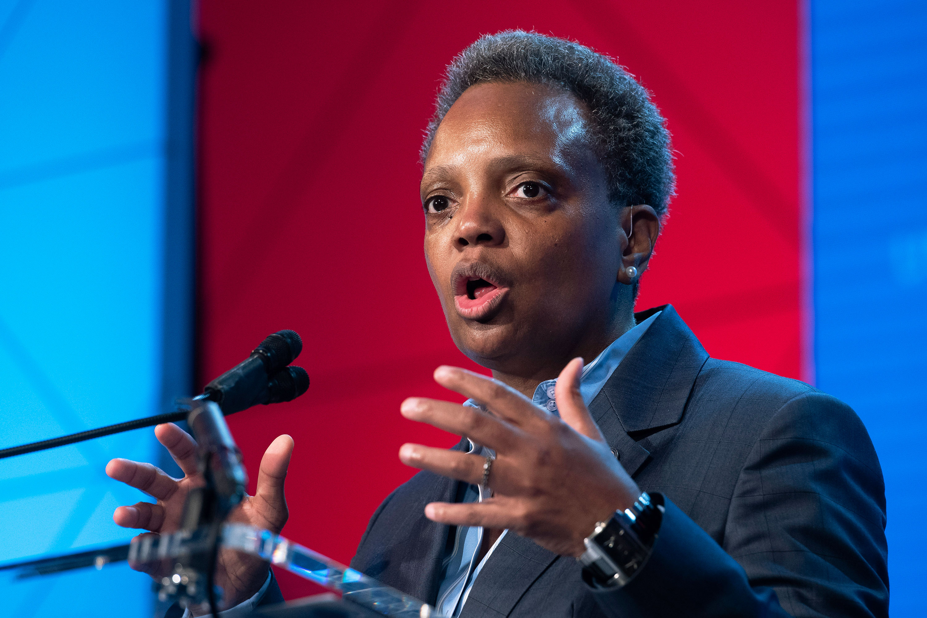 Chicago Mayor Lori Lightfoot​ at the ​US Conference of Mayors' Winter Meeting in Washington on January 23, 2020.
