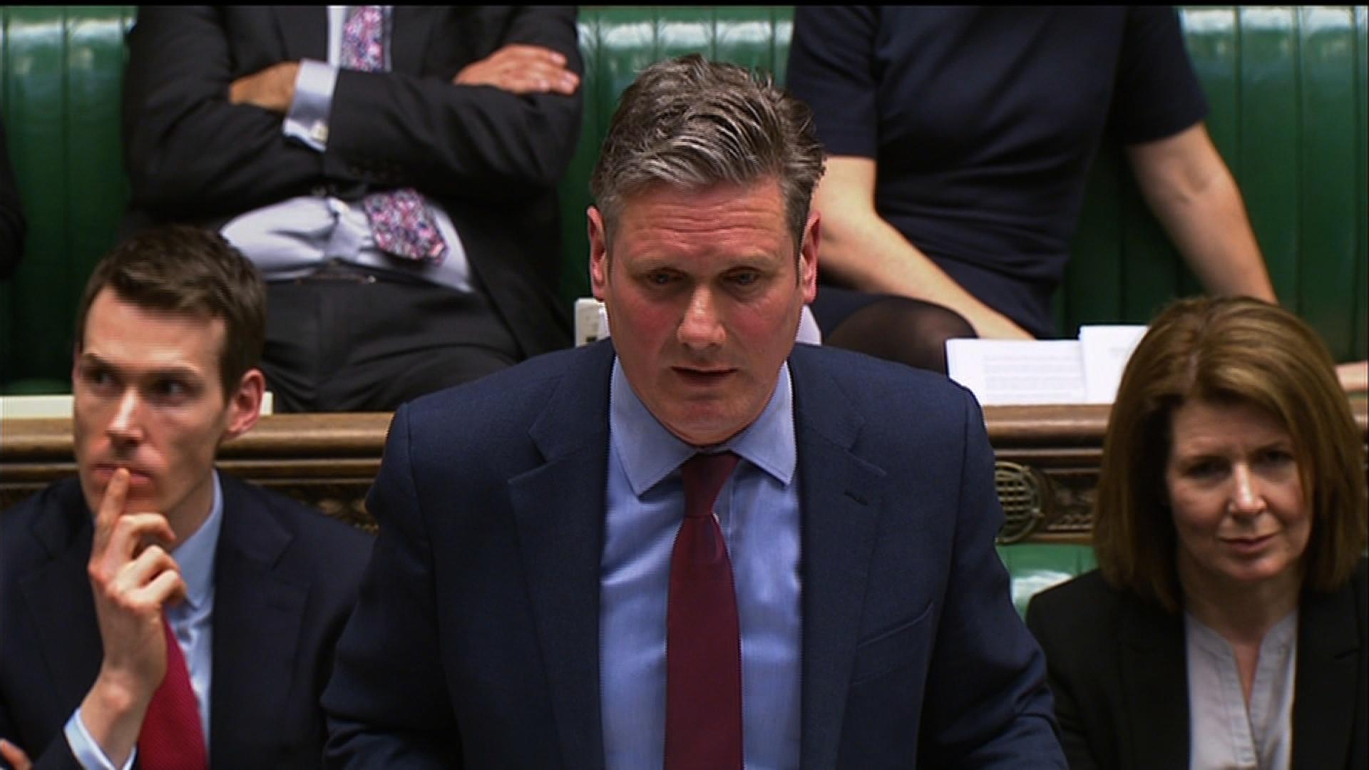 Shadow Brexit Secretary Keir Starmer speaking in parliament.