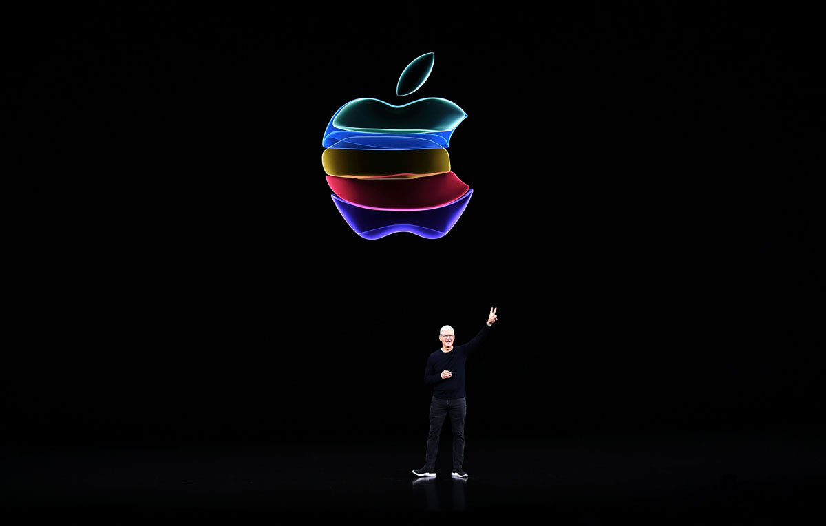 Apple CEO Tim Cook speaks onstage during a product launch event at Apple's headquarters in Cupertino, California on September 10, 2019.