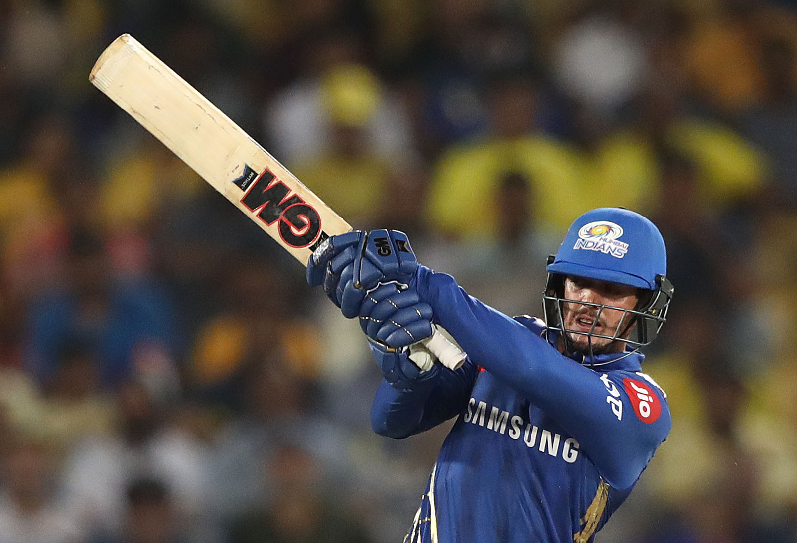 Quinton de Kock of the Mumbai Indians bats during the Indian Premier League Final match between the the Mumbai Indians and Chennai Super Kings at Rajiv Gandhi International Cricket Stadium in Hyderabad, India, on May 12, 2019.