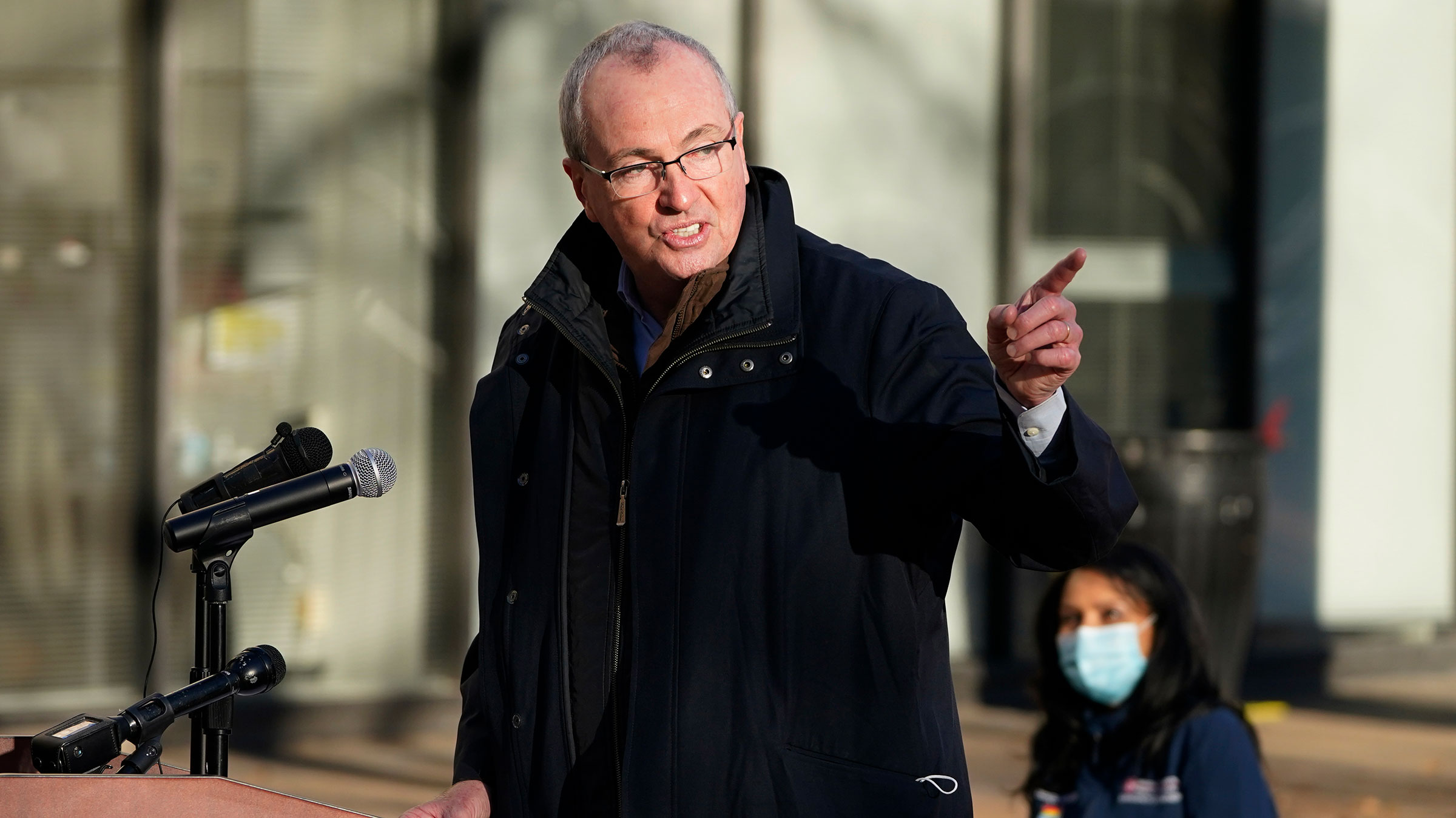 New Jersey Gov. Phil Murphy speaks during a news conference following the first coronavirus vaccinations at University Hospital's Covid-19 vaccine clinic in Newark, New Jersey, on December 15.