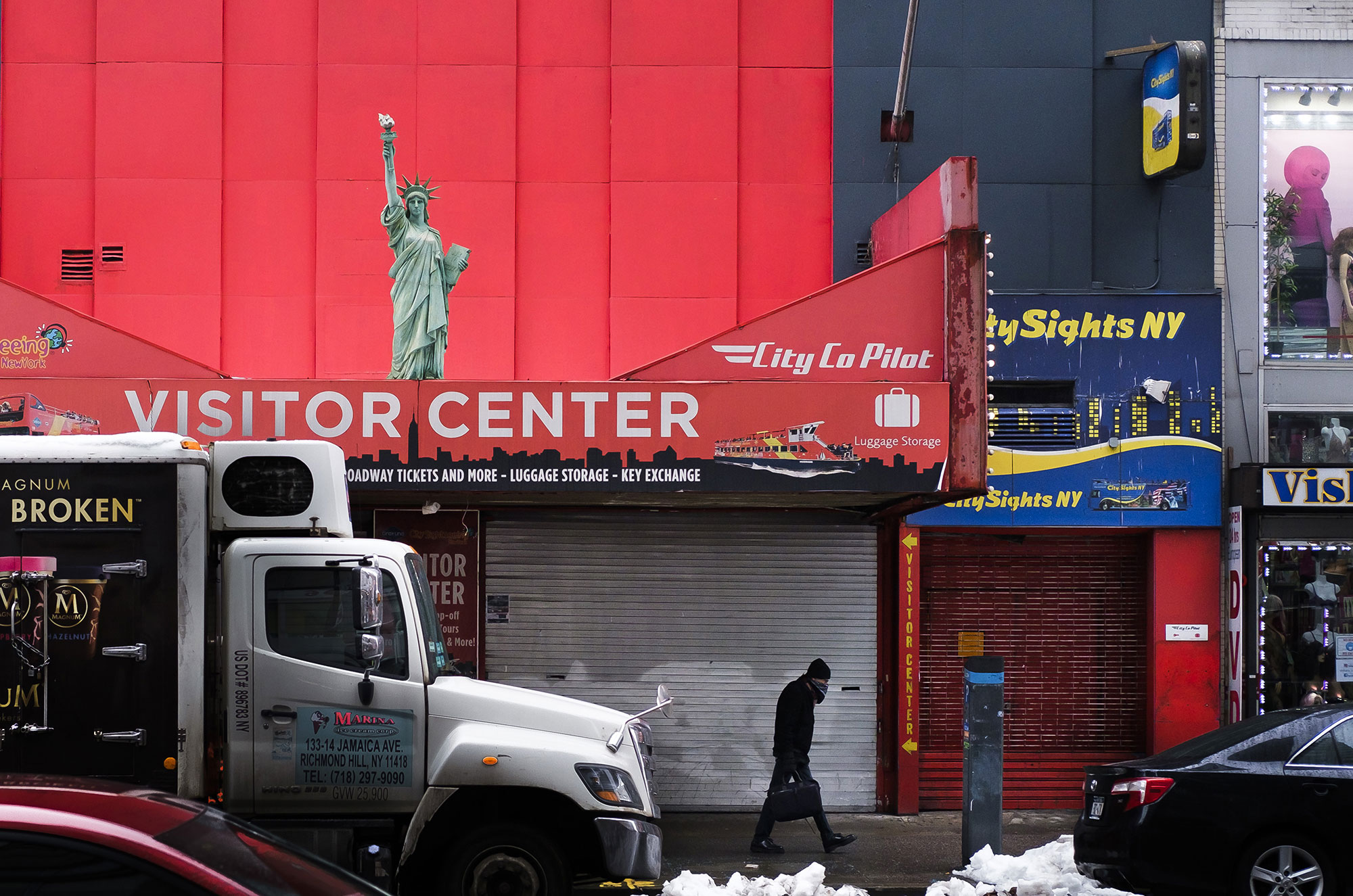 Tourism stores near New York's Times Square are closed on February 9.