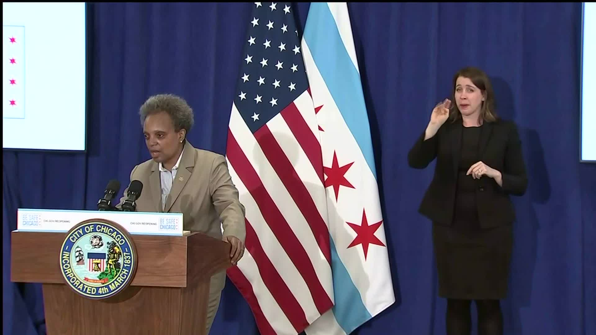 Chicago Mayor Lori Lightfoot speaks during a press conference in Chicago on May 28.