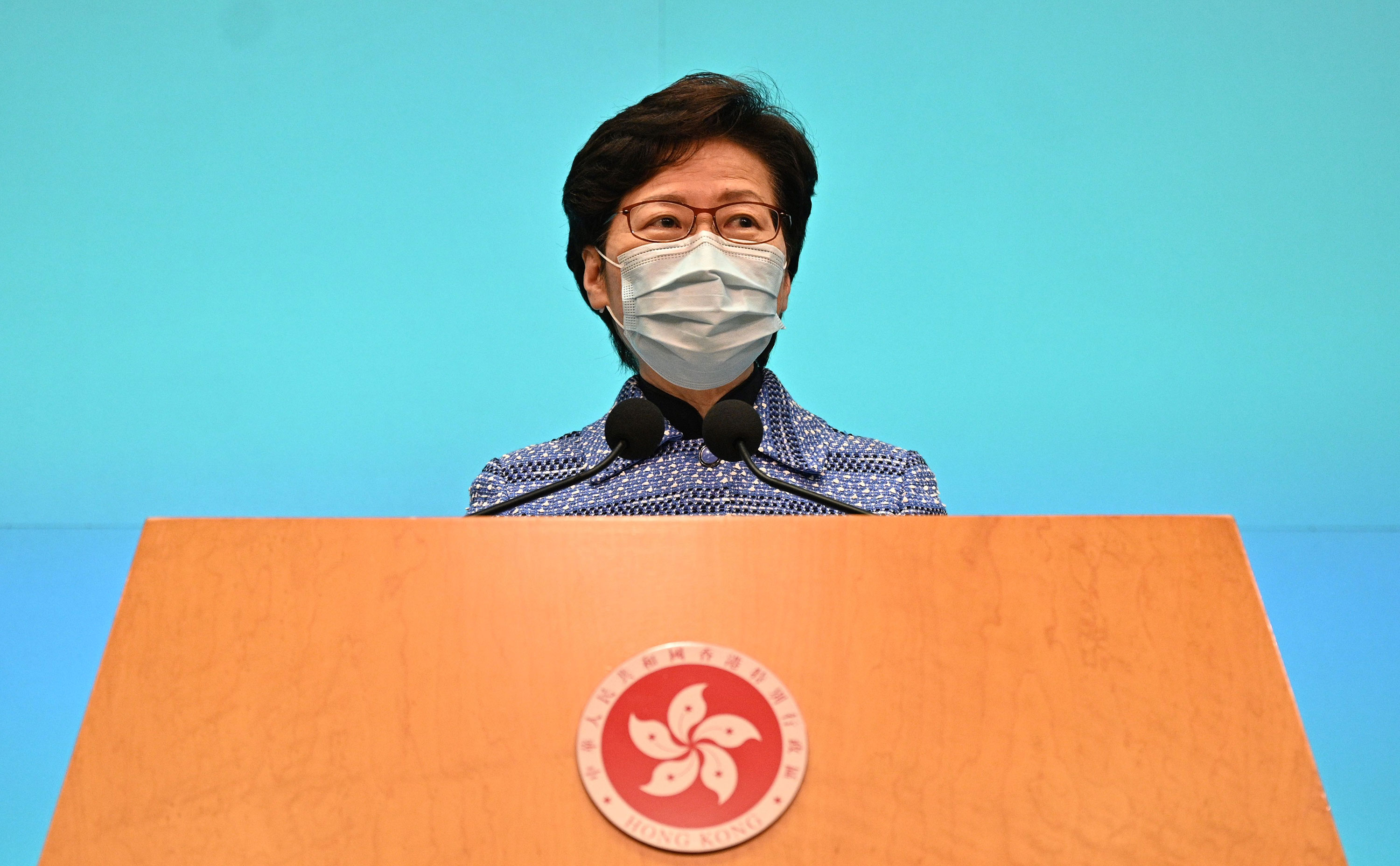 Hong Kong Chief Executive Carrie Lam speaks during a news conference at the government headquarters in Hong Kong on April 22.