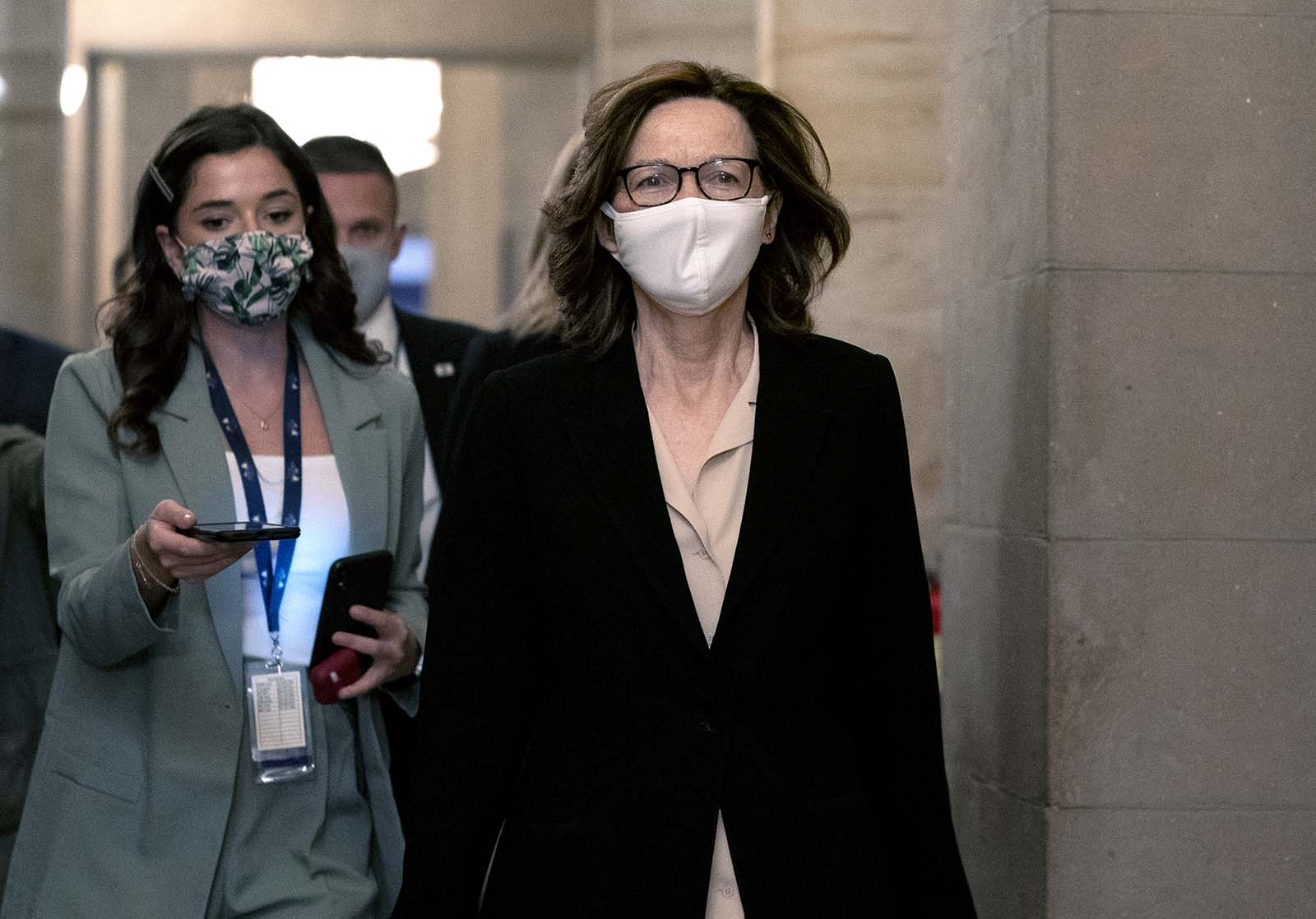 Gina Haspel, director of the Central Intelligence Agency wears a protective mask while arriving for a meeting with Senate Majority Leader Mitch McConnell, a Republican from Kentucky, not pictured, at the U.S. Capitol in Washington on Tuesday, November 10.