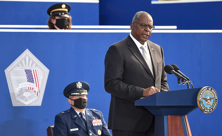 US Secretary of Defence Lloyd Austin speaks during a remembrance ceremony to mark the 20th anniversary of the 9/11 attacks, at the Pentagon in Washington, DC on September 11, 2021.