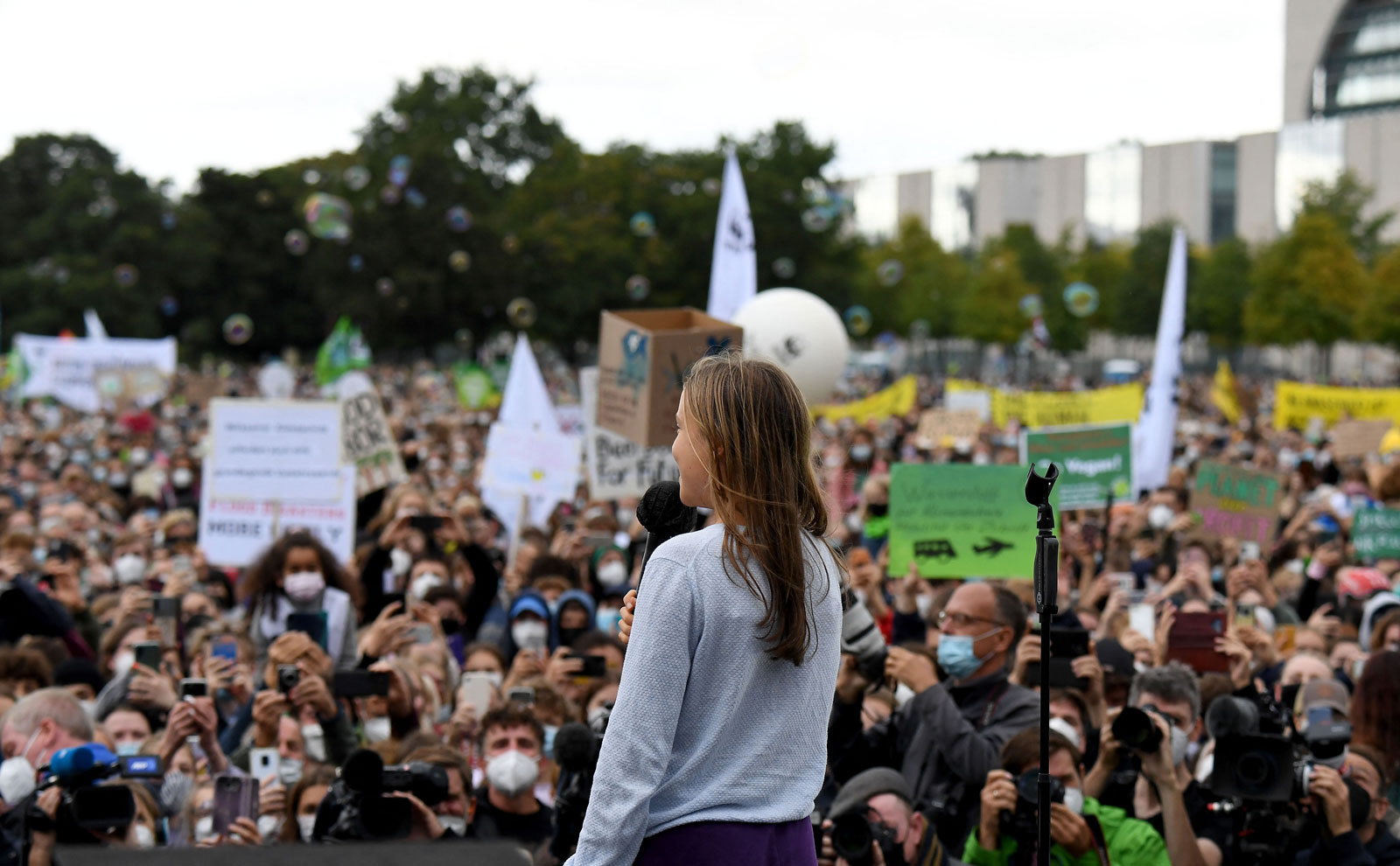 Swedish climate activist Greta Thunberg speaks to demonstrators taking part in Fridays for Future's global climate strike in Berlin, Germany.