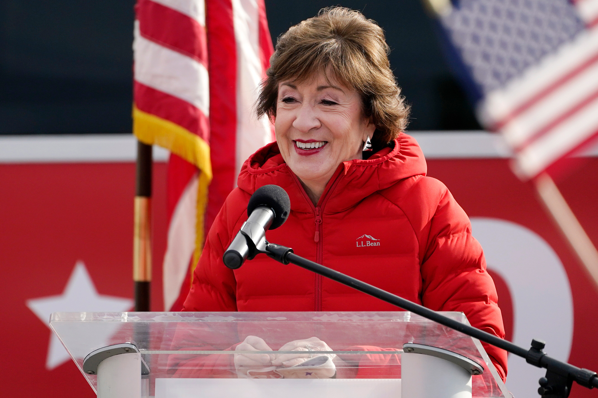 Republican Sen. Susan Collins speaks on November 4 in Bangor, Maine.