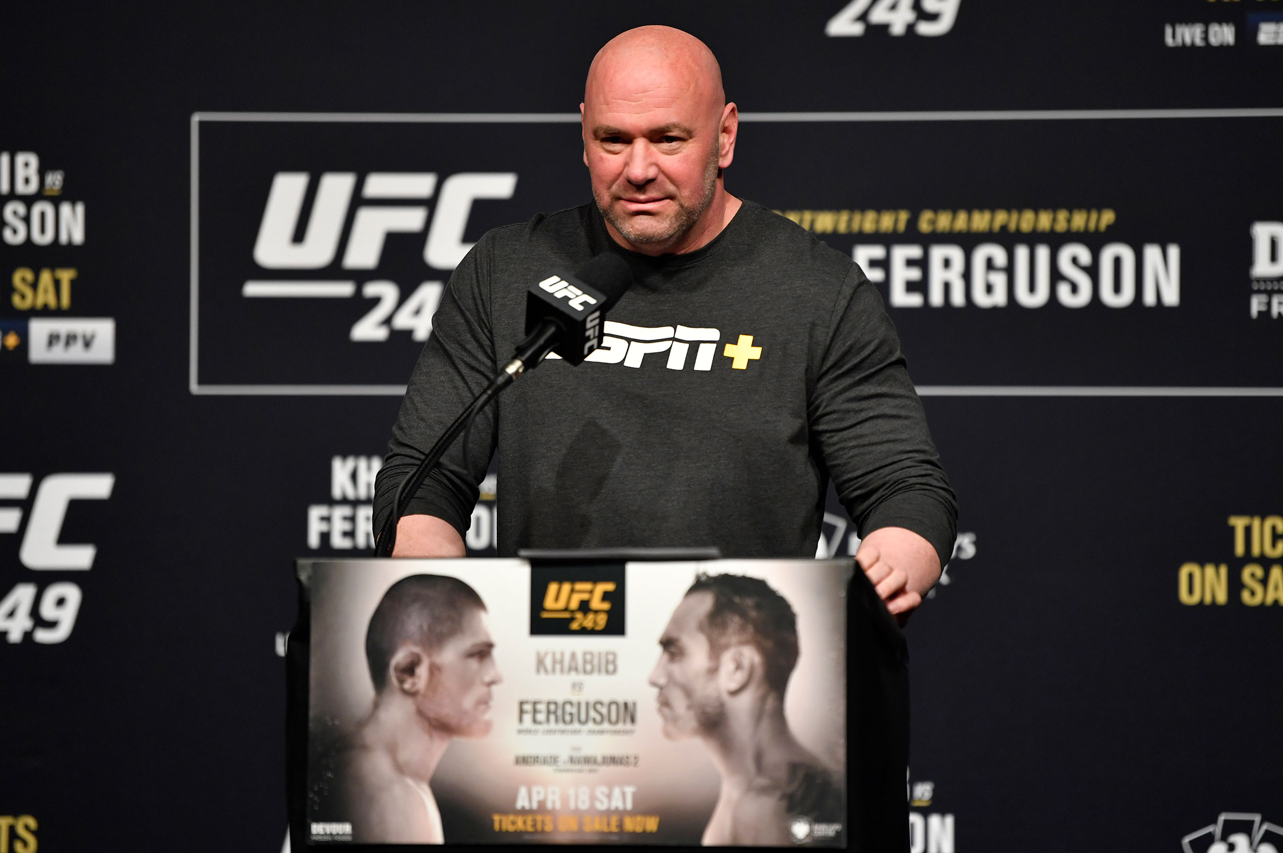 UFC president Dana White speaks during a press conference at T-Mobile Arena in Las Vegas on March 6.