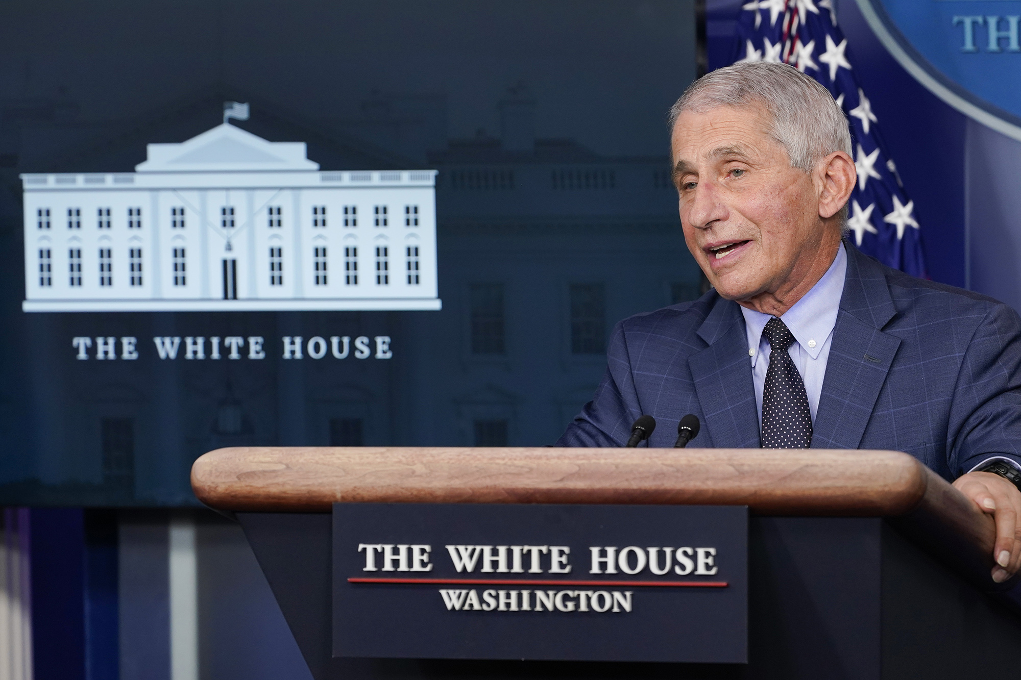 Dr. Anthony Fauci, director of the National Institute for Allergy and Infectious Diseases, speaks during a news conference with the coronavirus task force at the White House in Washington on Thursday.