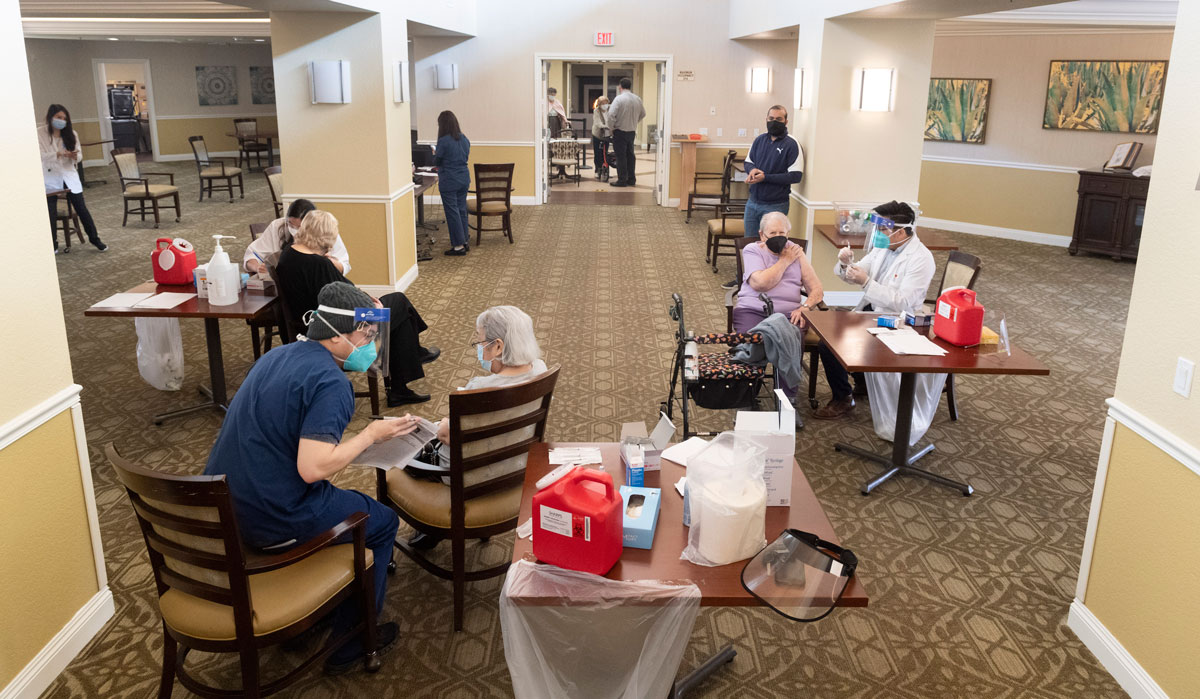 Residents at the Emerald Court senior living community in Anaheim, California get the Pfizer/BioNTech Covid-19 vaccine on January 8.