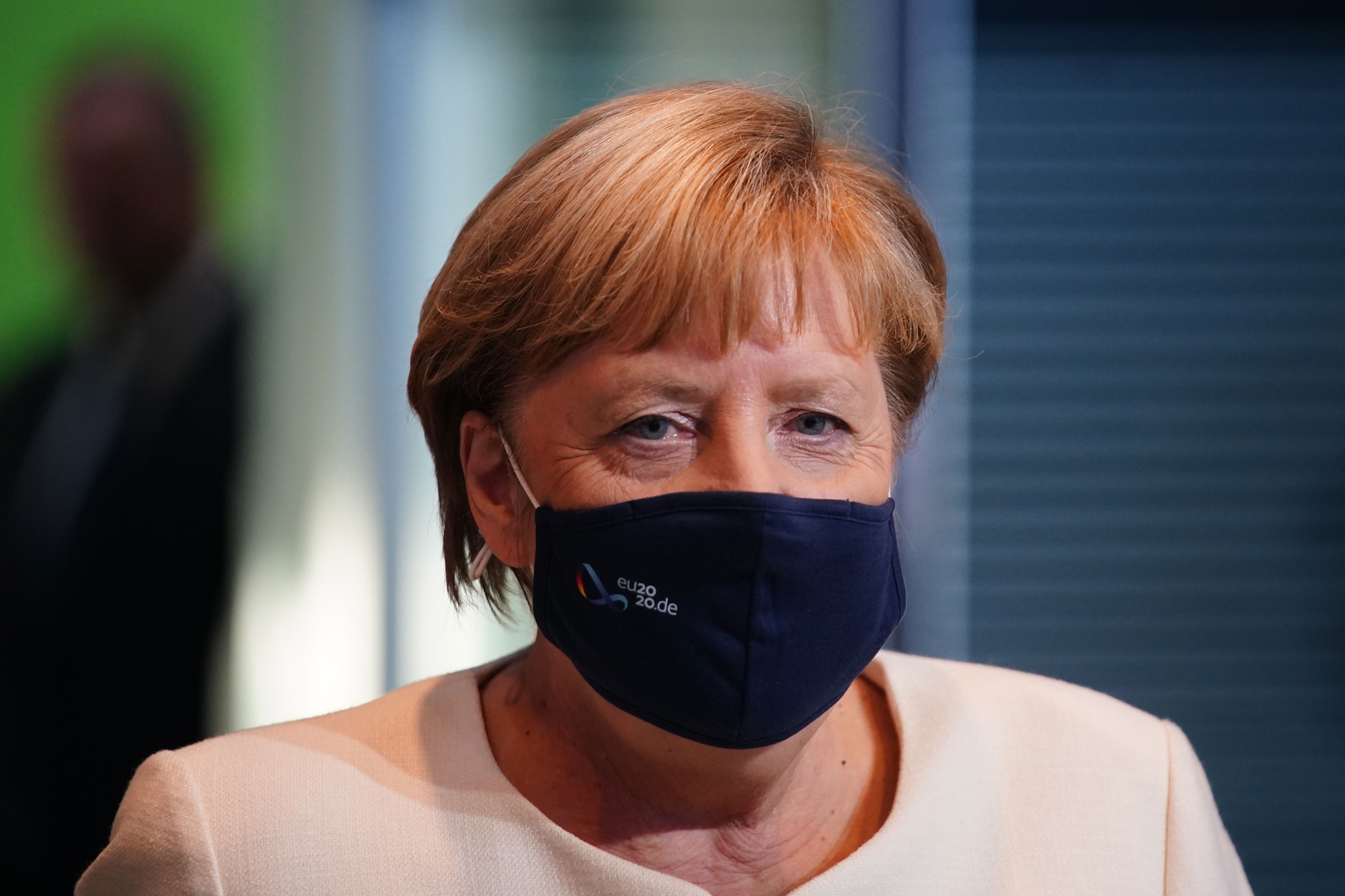 German Chancellor Angela Merkel arrives for a press conference on September 29 in Berlin.