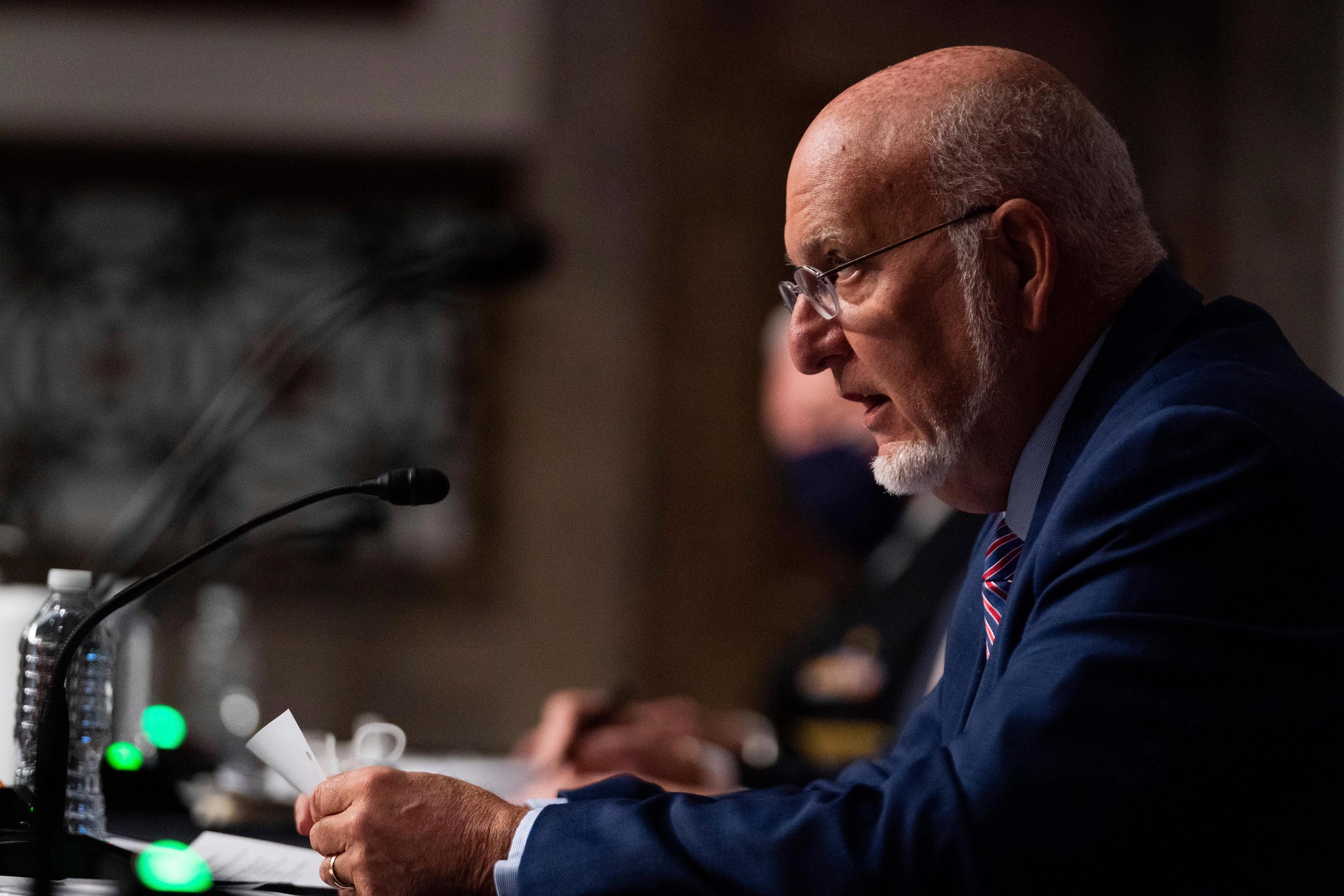 Dr. Robert Redfield, director of the Centers for Disease Control and Prevention, testifies at a hearing with the Senate Appropriations Subcommittee on September 16 in Washington, DC.