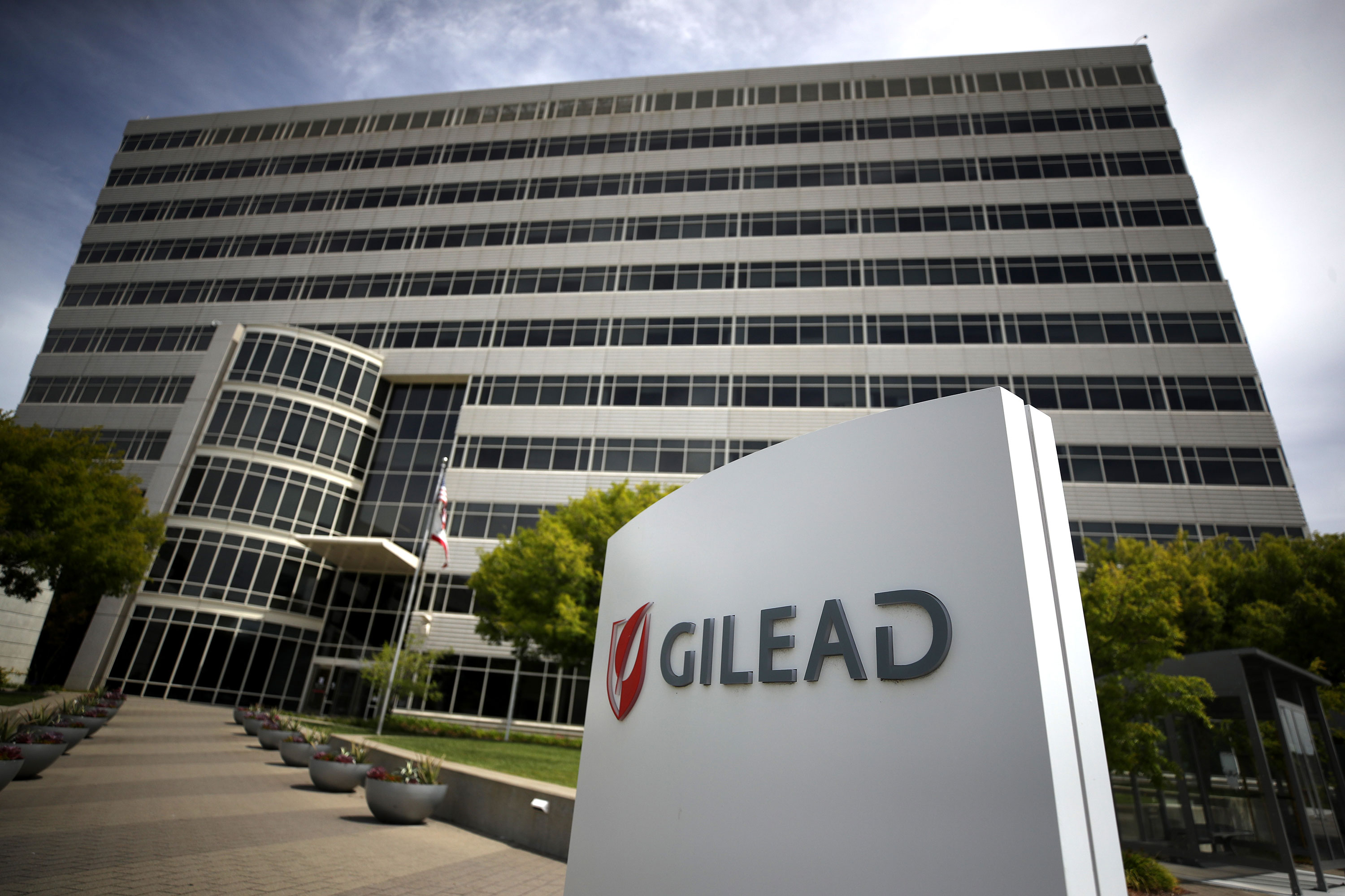 A sign is posted in front of the Gilead Sciences headquarters in Foster City, California.