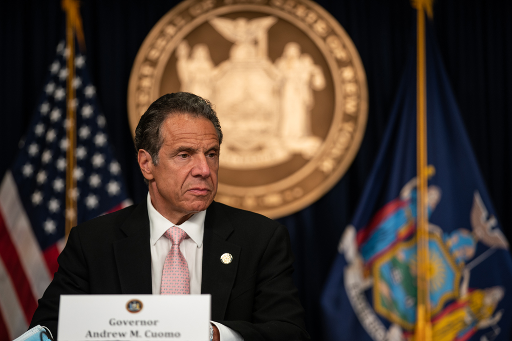 New York Gov. Andrew Cuomo speaks during the daily media briefing at the Office of the Governor of the State of New York on June 12, in New York City