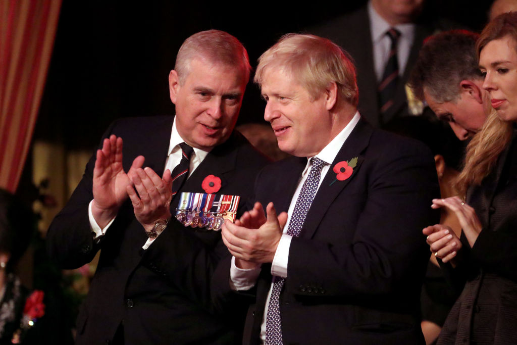 Prince Andrew and Boris Johnson at a remembrance event in London on November 9.