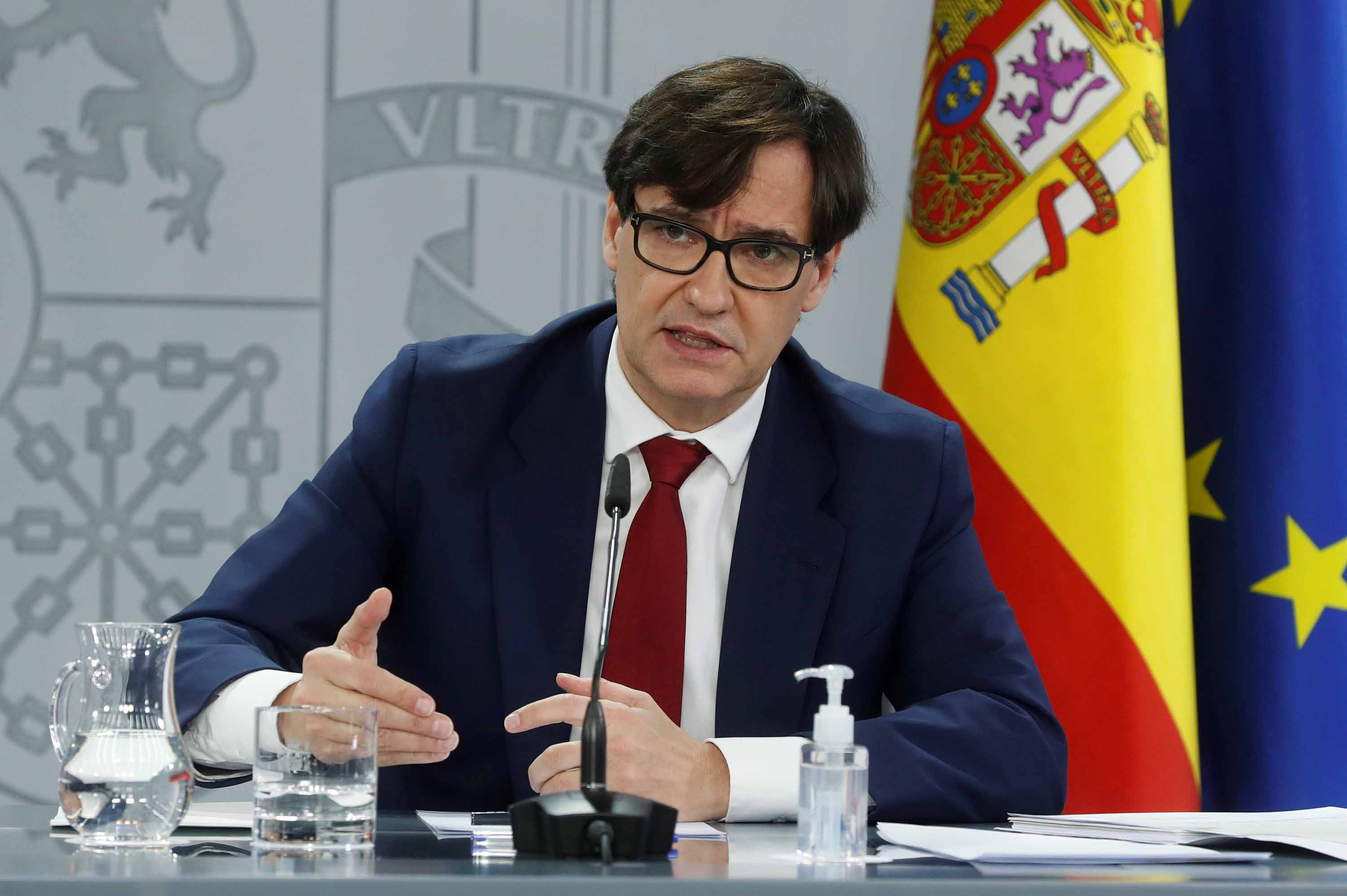 Spanish Health Minister Salvador Illa addresses a press conference in Madrid, Spain, on Friday, January 8, after a meeting of the COVID-19 Follow-up Committee.