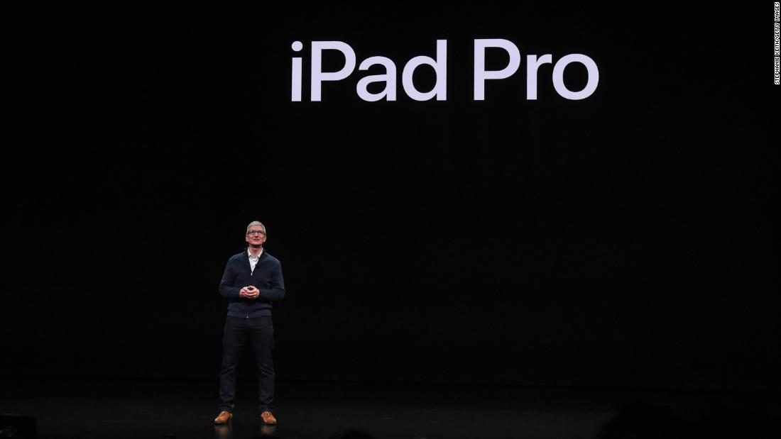 Apple CEO Tim Cook during a former Apple event.