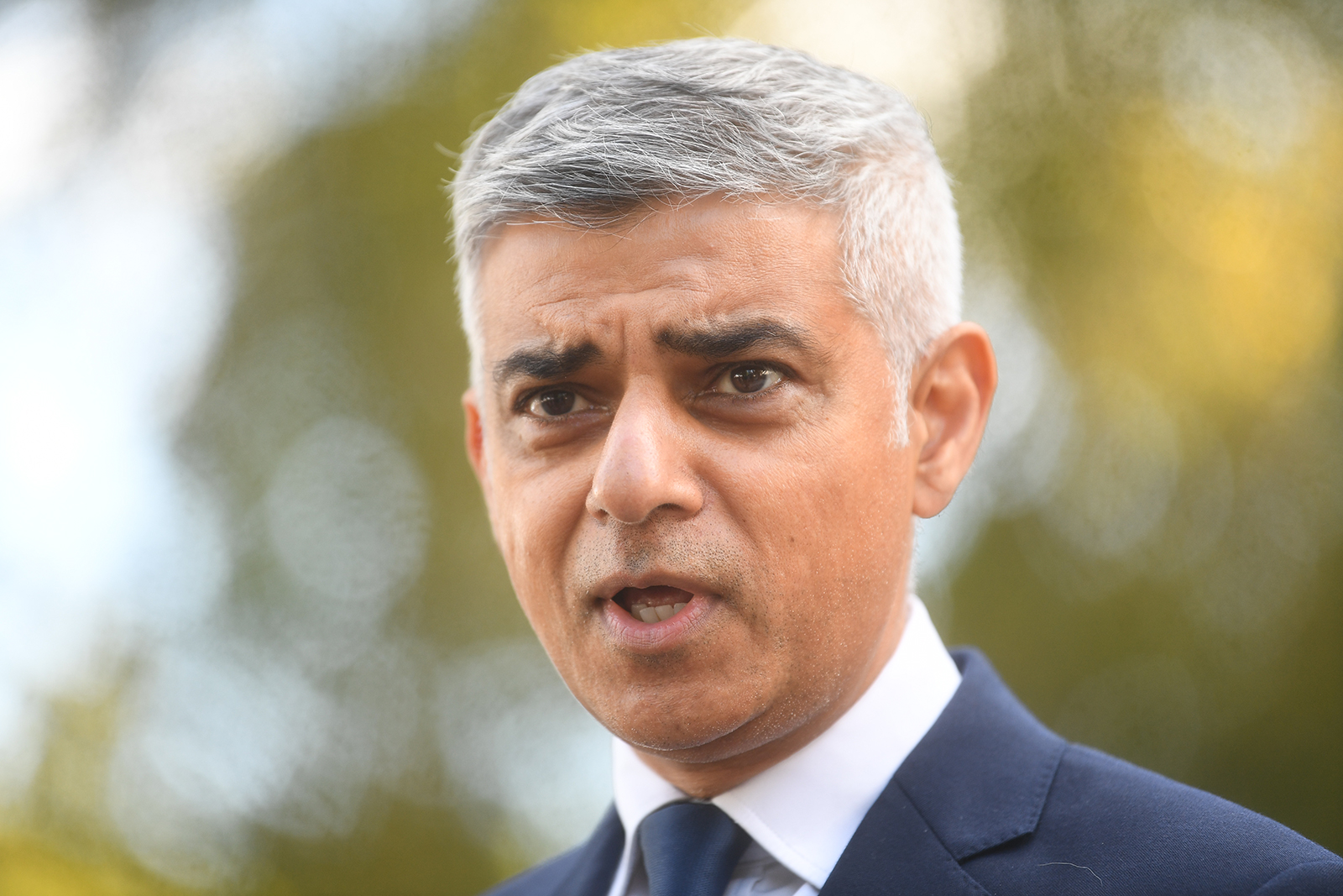 London Mayor Sadiq Khan makes a statement to media in the city on September 25.