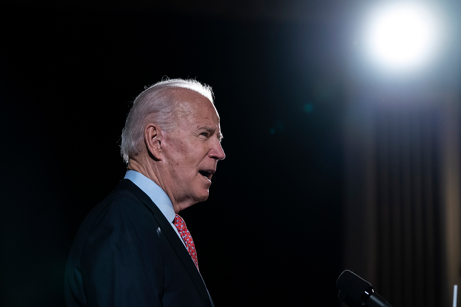 Joe Biden speaks about the coronavirus outbreak in Wilmington, Delaware, on March 12.