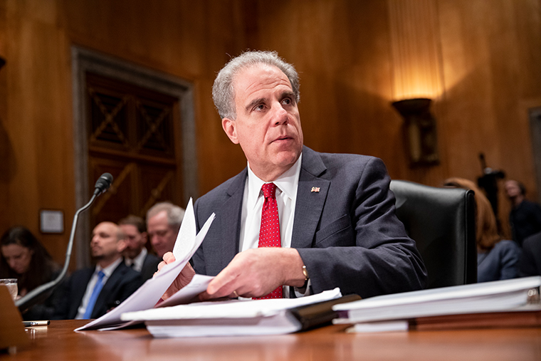 Department of Justice Inspector General Michael Horowitz at the US Capitol on December 18, 2019 in Washington, DC.