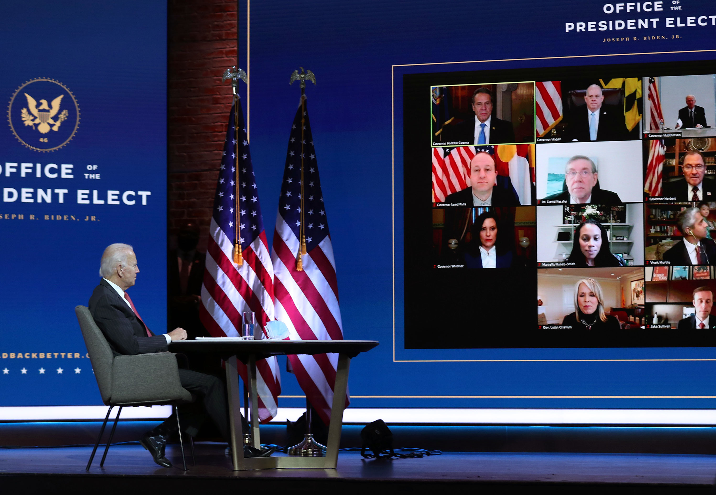 President-elect Joe Biden holds a virtual meeting with the National Governors Association's executive committee on November 19 in Wilmington, Delaware.