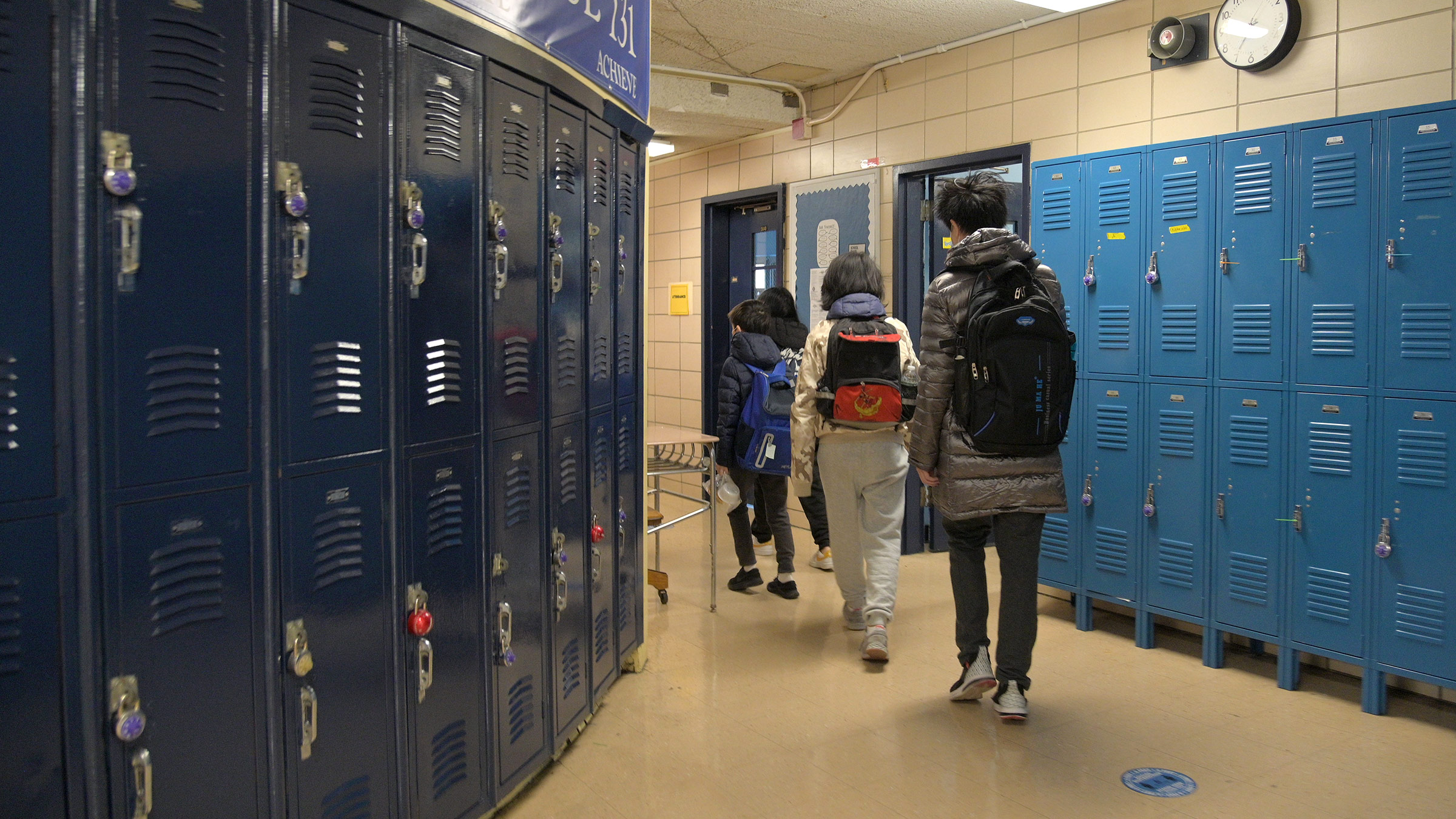 Students walk to class at Sun Yat Sen M.S. 131 on February 25, in New York City.