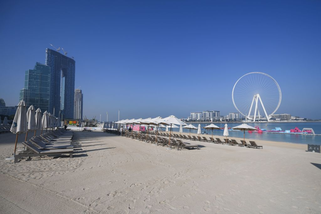 Empty sunbeds at the normally-crowded Jumeirah Beach Residence in Dubai on Thursday.