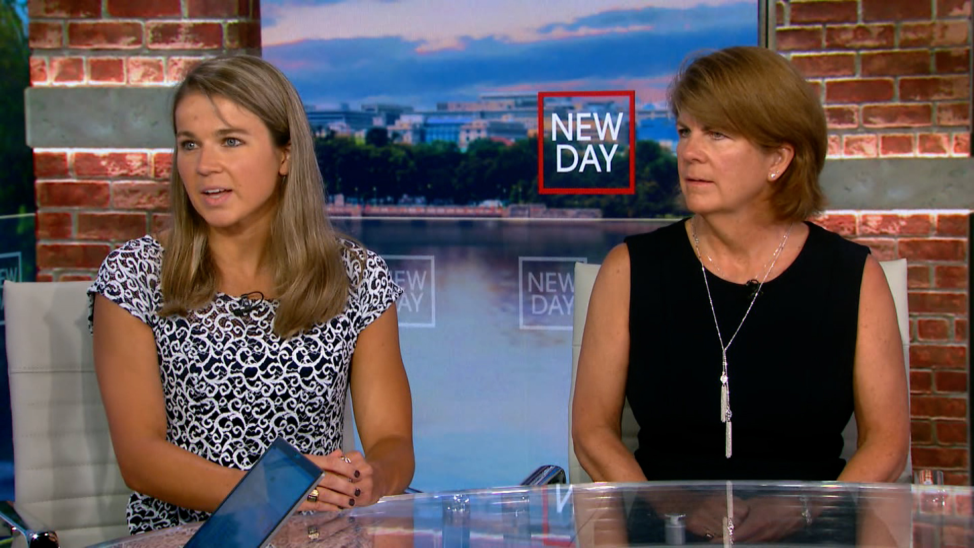Becca Meyers, left, and her mother, Maria, are interviewed on New Day on July 21.