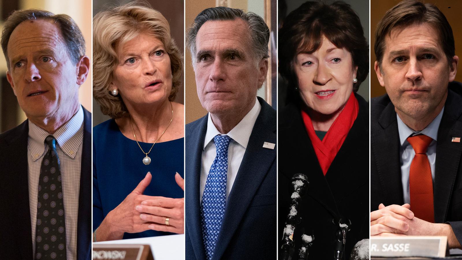 From left to right, Sen. Patrick Toomey, Sen. Lisa Murkowski, Sen. Mitt Romney, Sen. Susan Collins and Sen. Ben Sasse